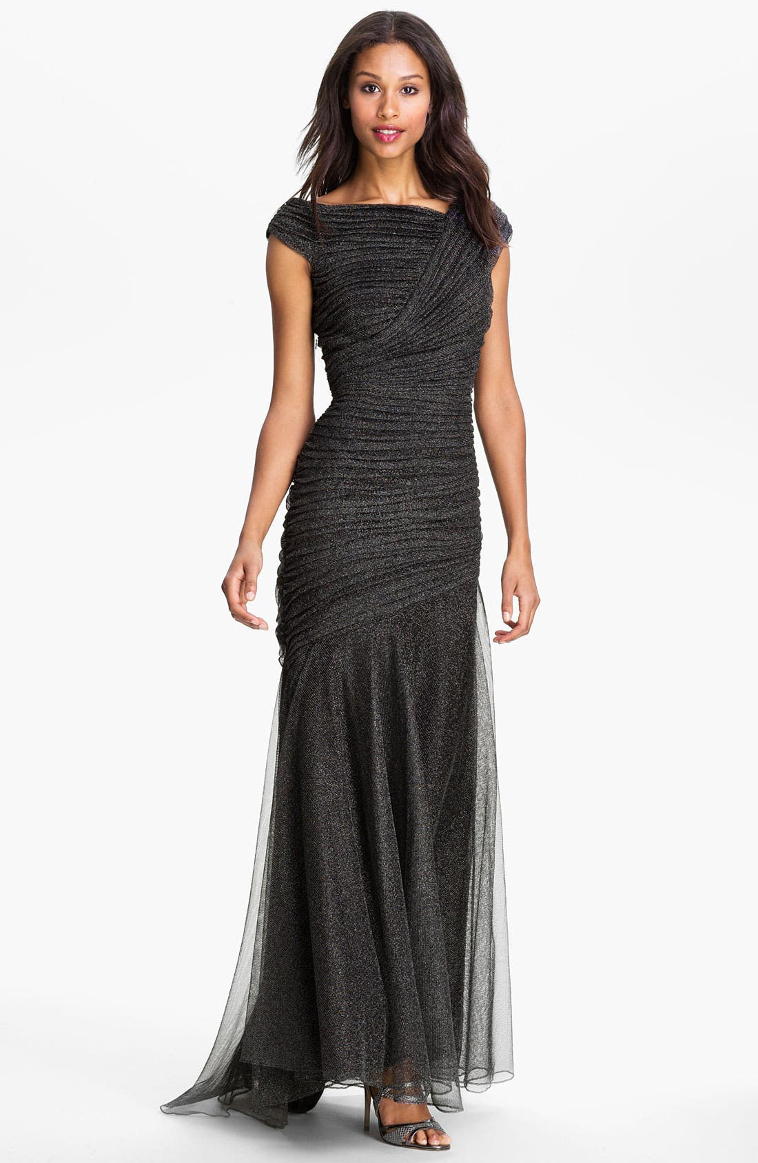 Alternate Image 1 Selected - Tadashi Shoji Pleated Metallic Trumpet Gown