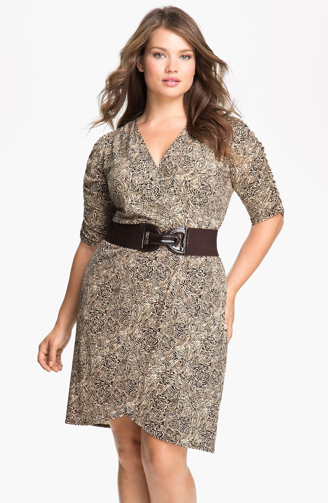 Alternate Image 1 Selected - Eliza J Belted Faux Wrap Dress (Plus)