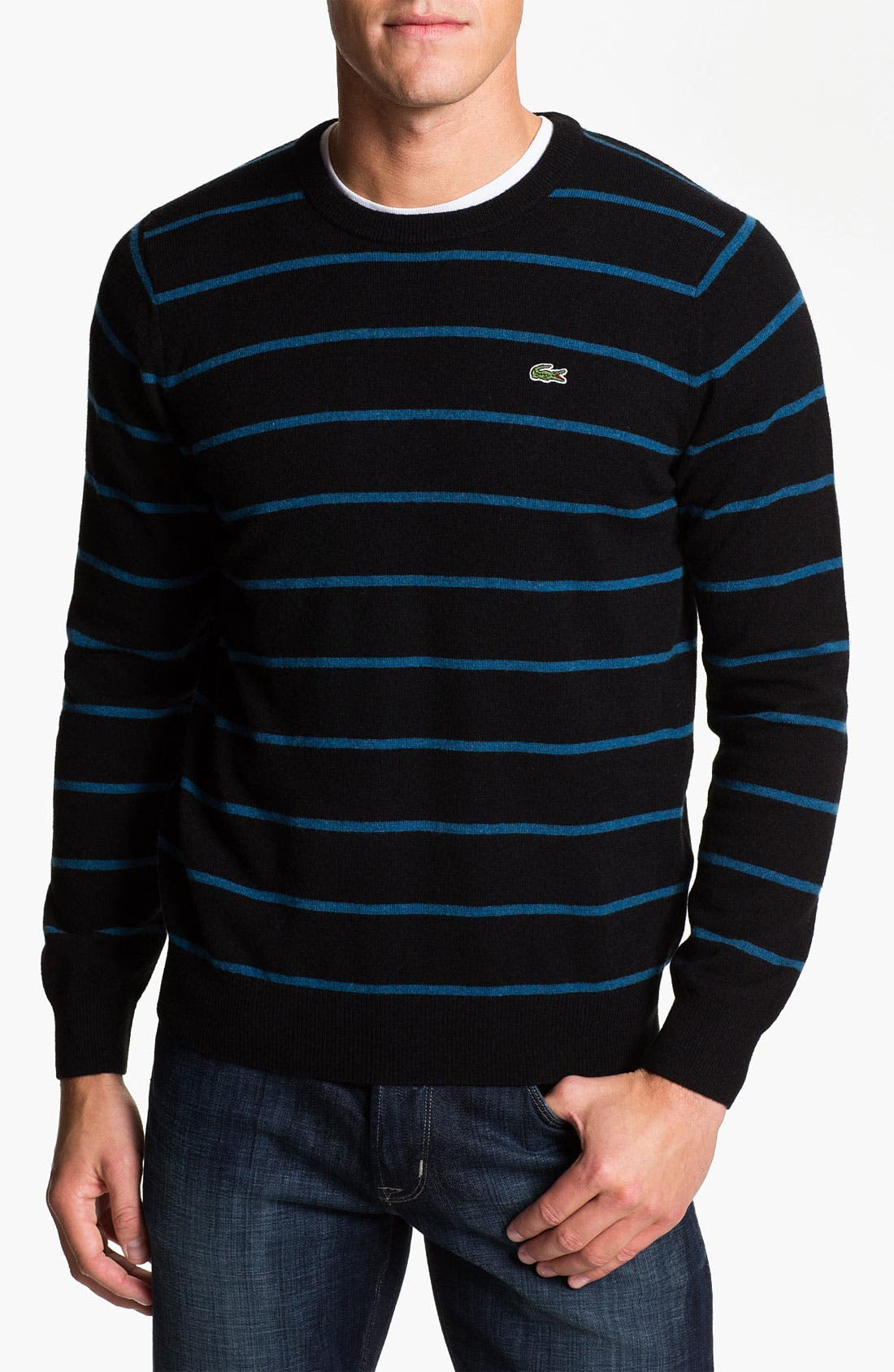 Alternate Image 1 Selected - Lacoste Stripe Wool Crewneck Sweater