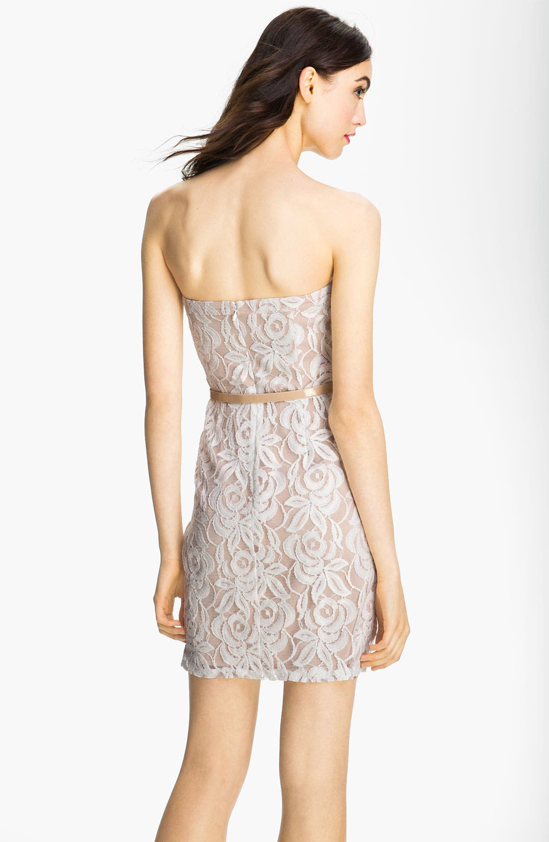 Alternate Image 2  - Jessica Simpson Belted Strapless Lace Dress