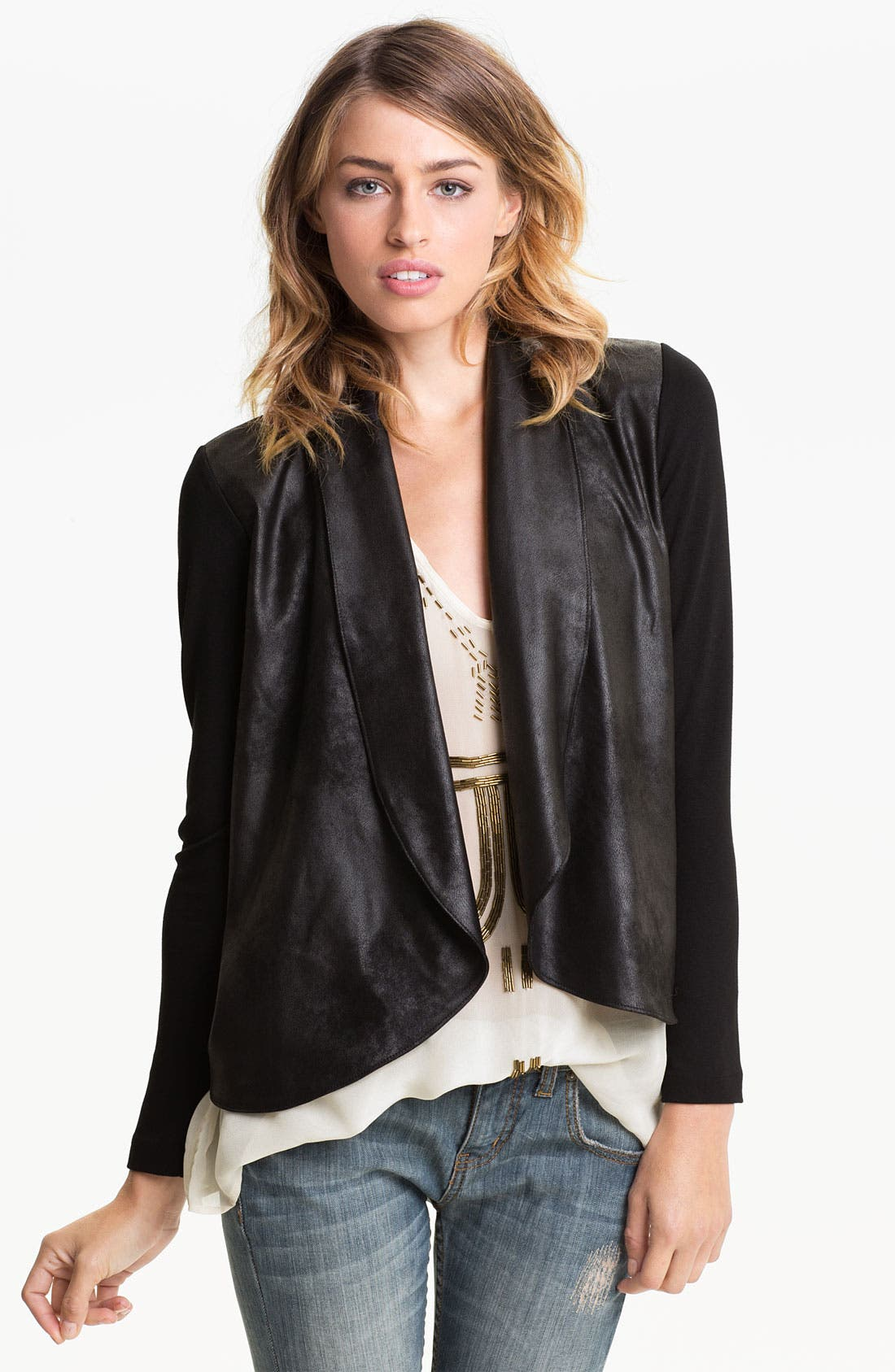 Alternate Image 1 Selected - Velvet by Graham & Spencer Drape Faux Leather Jacket