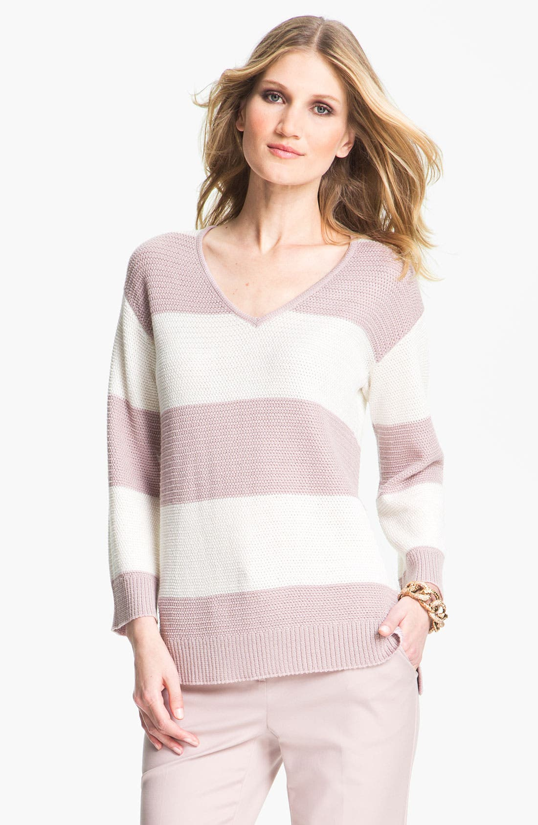 Alternate Image 1 Selected - St. John Yellow Label Stripe Ottoman Knit Sweater