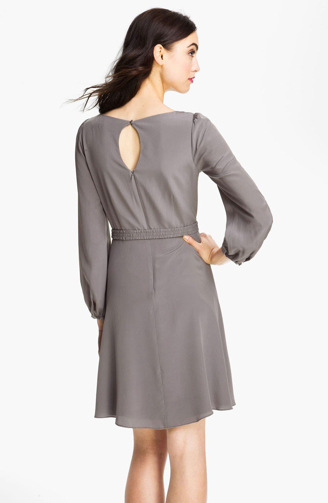 Alternate Image 2  - Eliza J Blouson Sleeve Silk Day Dress