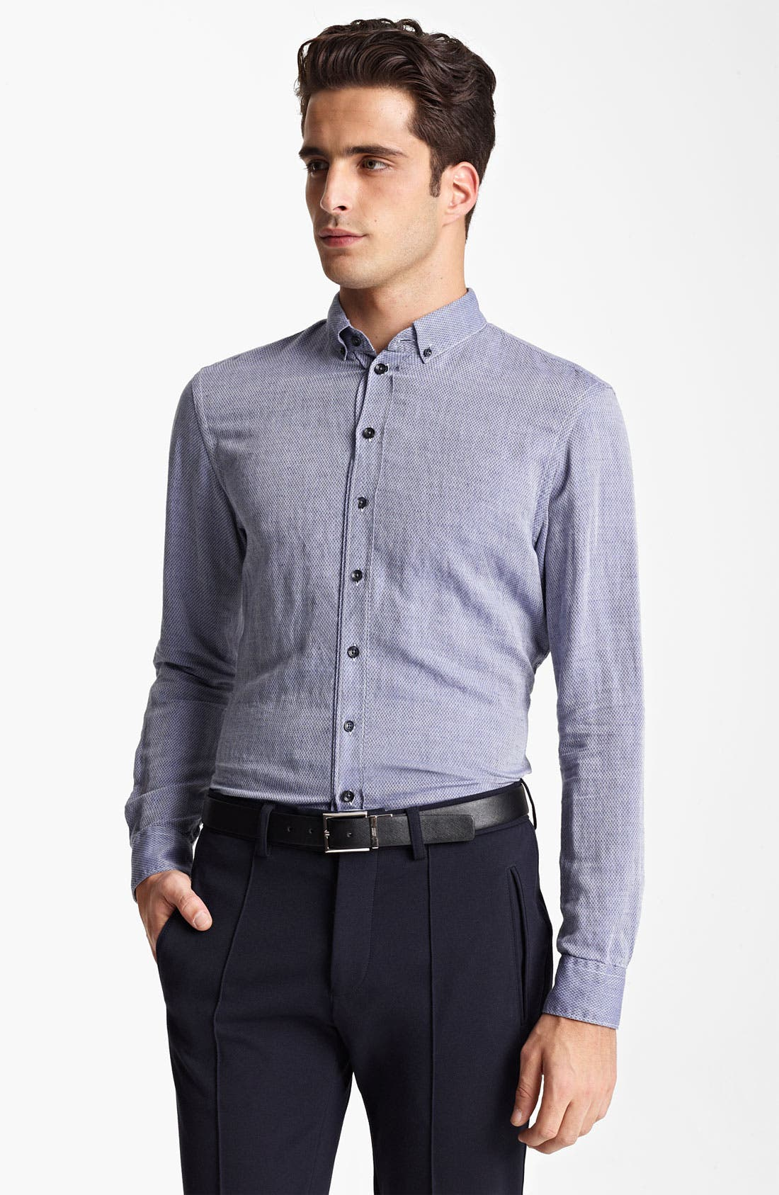Main Image - Armani Collezioni Bird's Eye Cotton & Flax Sport Shirt