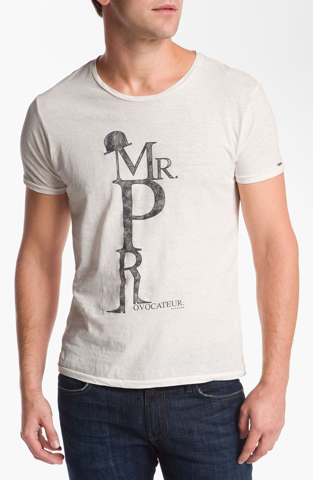Alternate Image 1 Selected - Scotch & Soda 'Monsieur Provocateur' Graphic Cotton & Linen T-Shirt