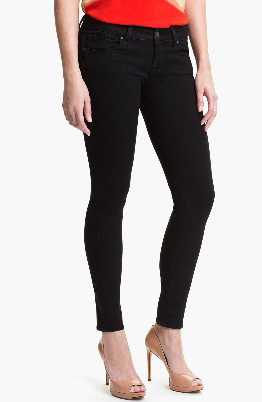Main Image - Mavi Jeans 'Serena' Low Rise Super Skinny Jeans (Black Shanti) (Online Exclusive)