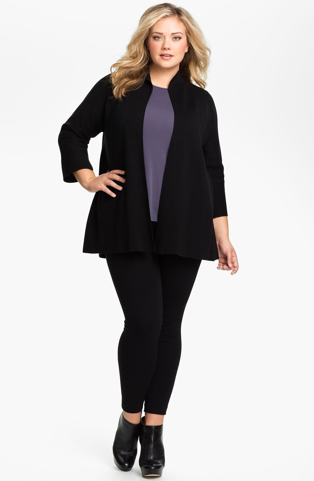 Alternate Image 4  - Eileen Fisher Silk Blend Knit Jacket (Plus)