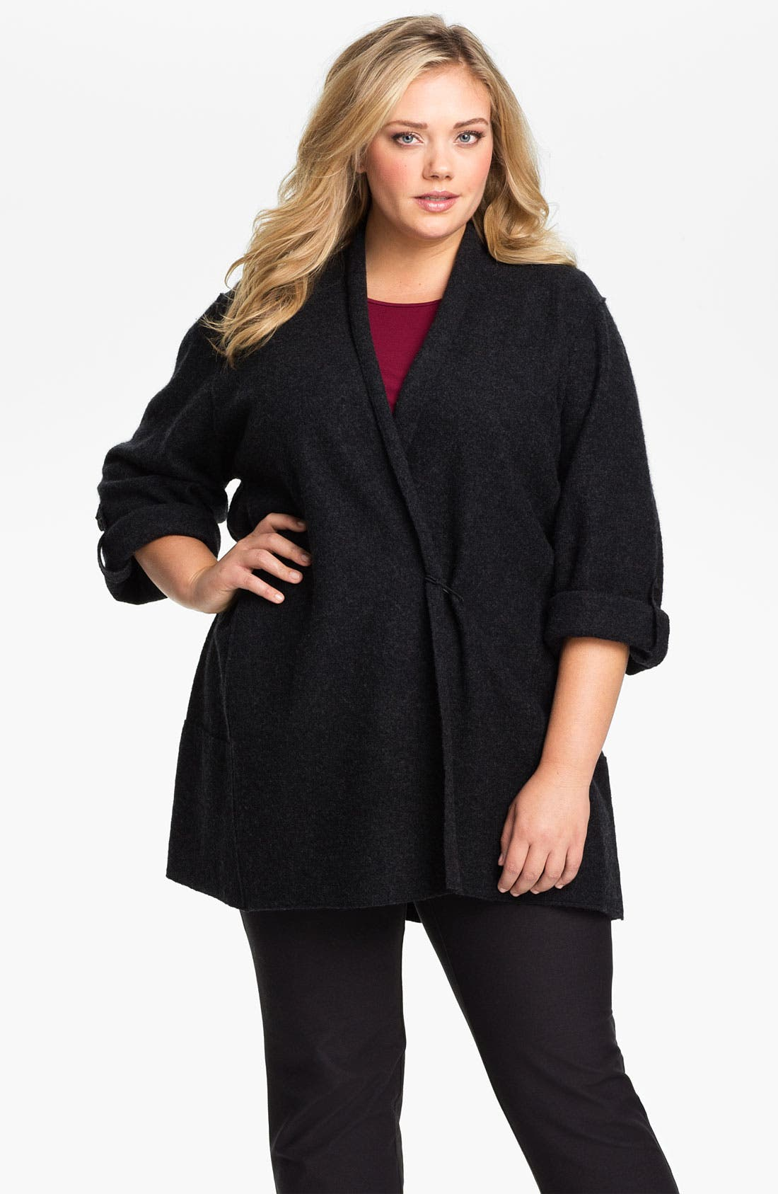 Alternate Image 1 Selected - Eileen Fisher Merino Wool Roll Sleeve Jacket (Plus)