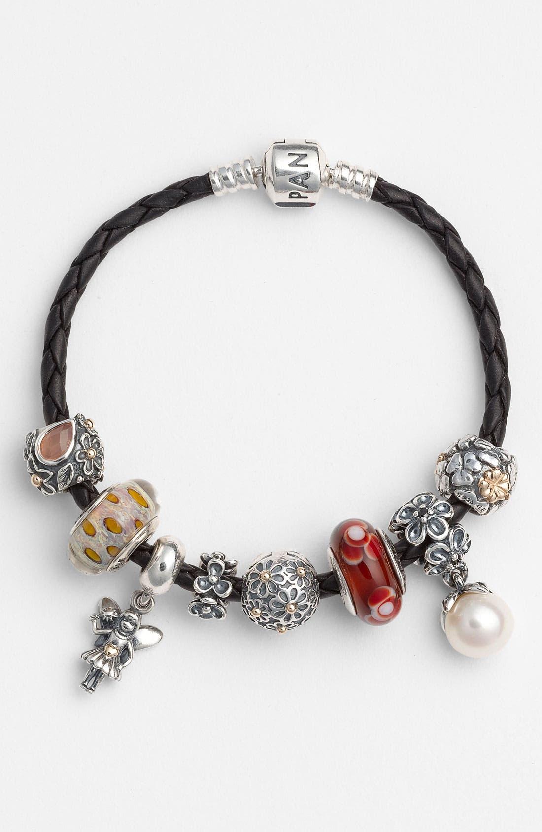 Alternate Image 2  - PANDORA Woven Leather Charm Bracelet