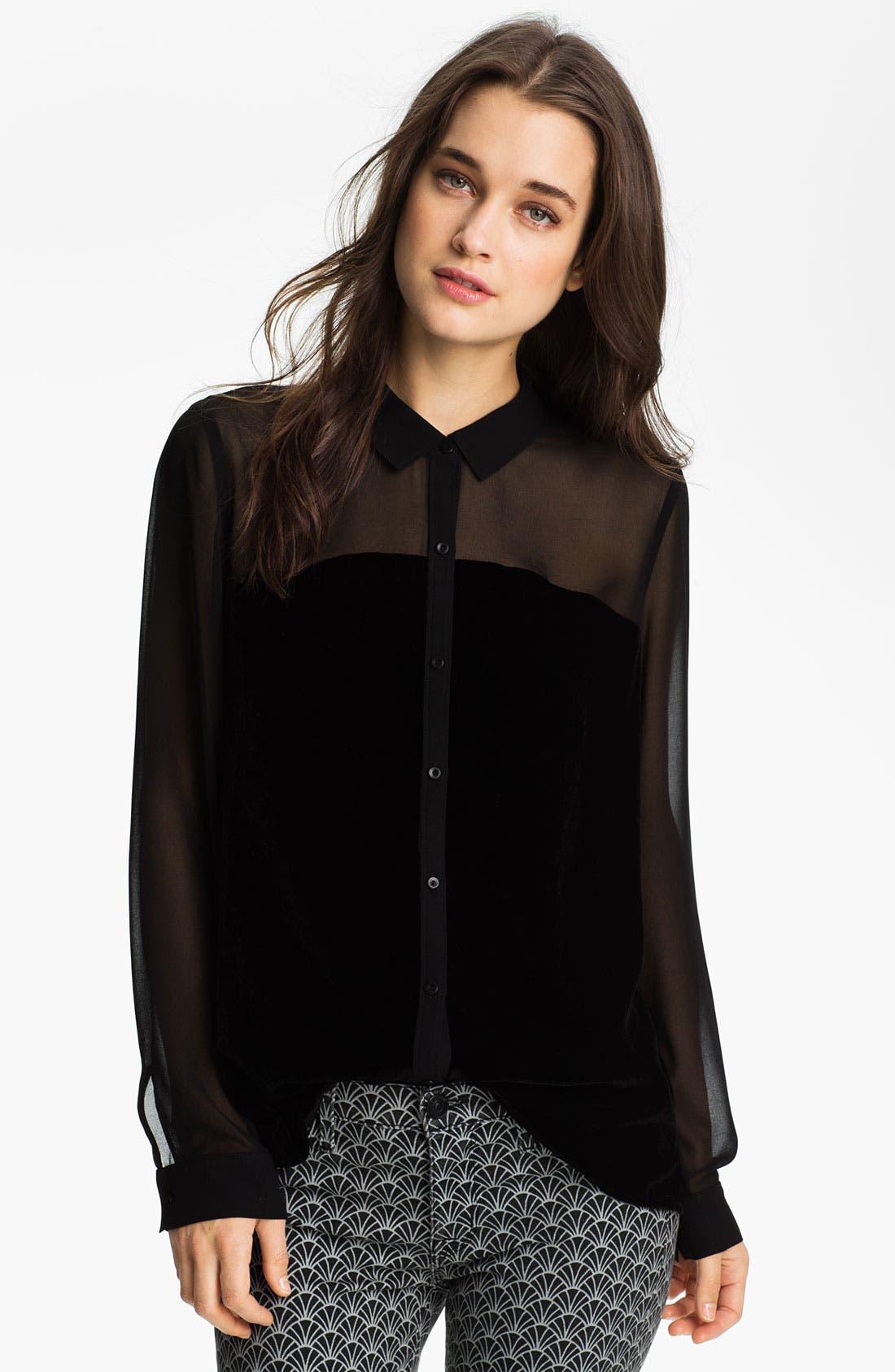 Main Image - Hinge® Chiffon & Velvet Mixed Media Shirt
