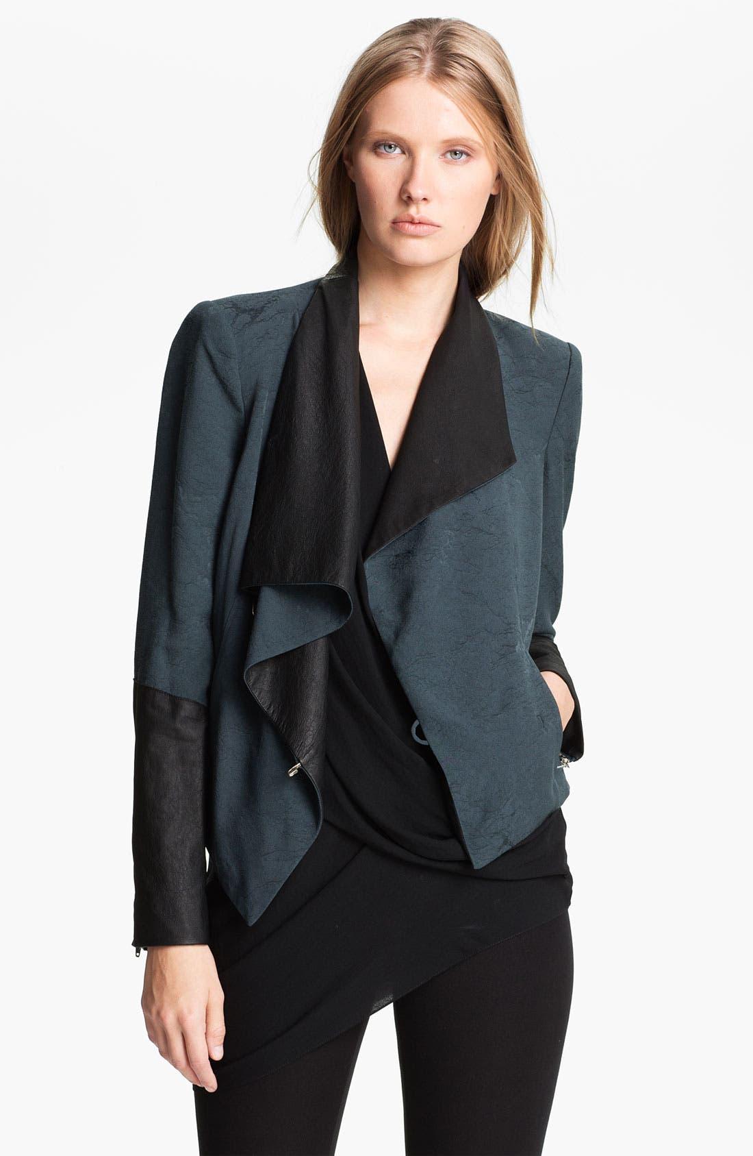 Main Image - Helmut Lang 'Perma' Jacquard & Leather Jacket