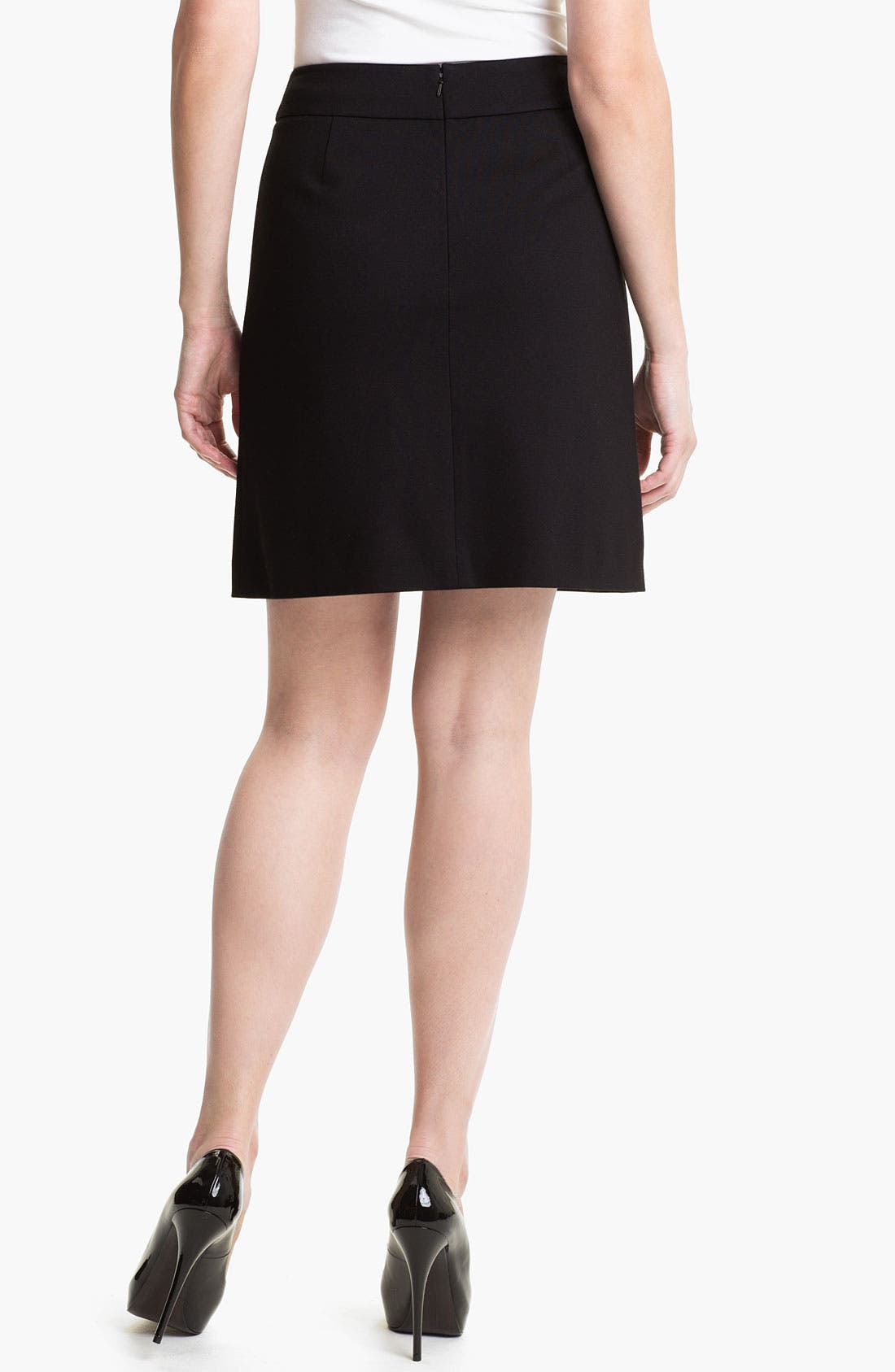 Alternate Image 2  - Halogen® Faux Leather Trim Ponte Skirt (Petite)