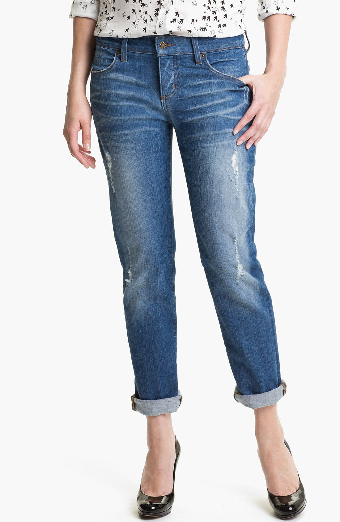 Alternate Image 1 Selected - Blue Essence Boyfriend Jeans (Worn Destroyed) (Nordstrom Exclusive)