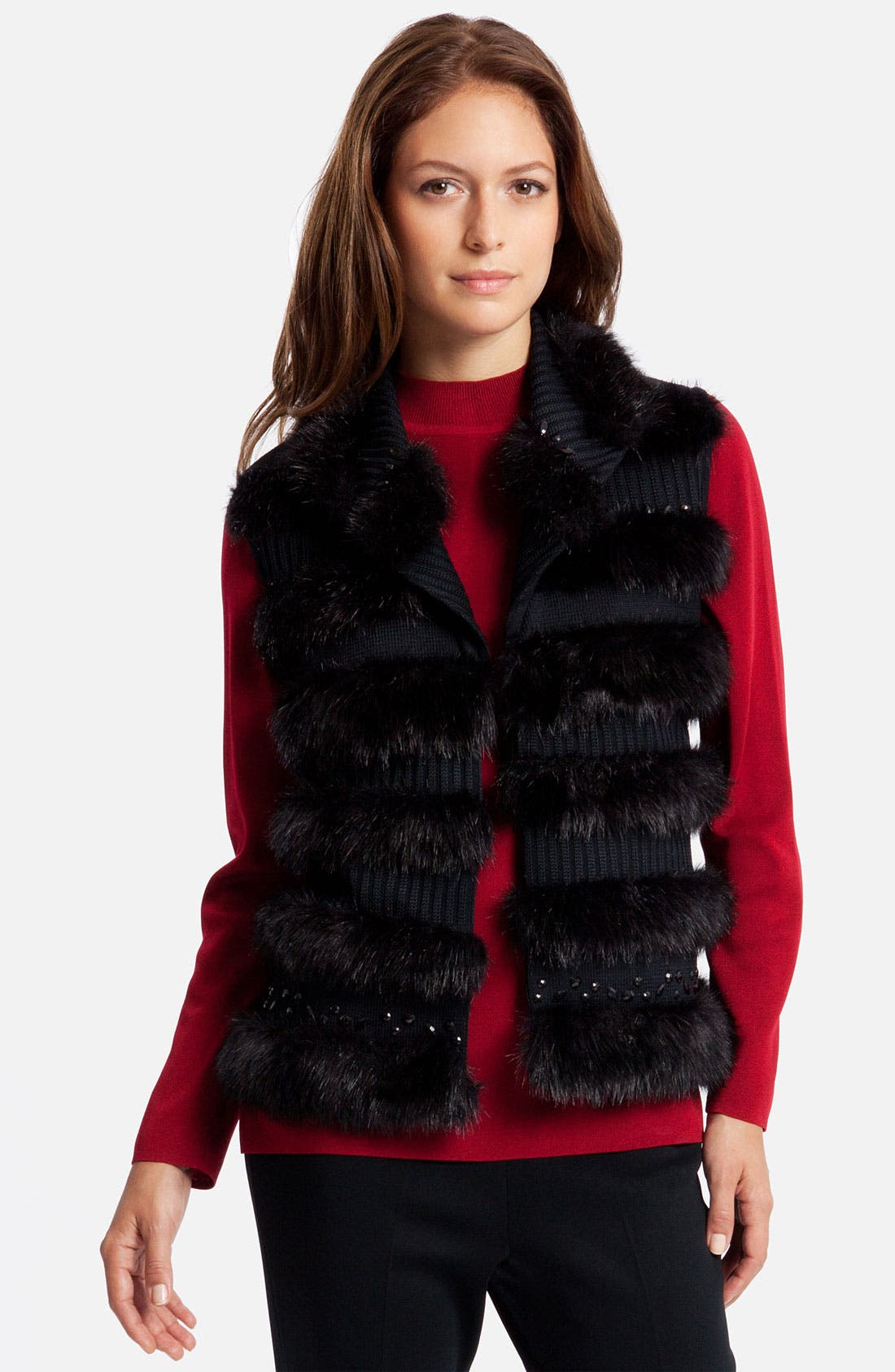 Alternate Image 1 Selected - Ming Wang Knit & Faux Fur Vest
