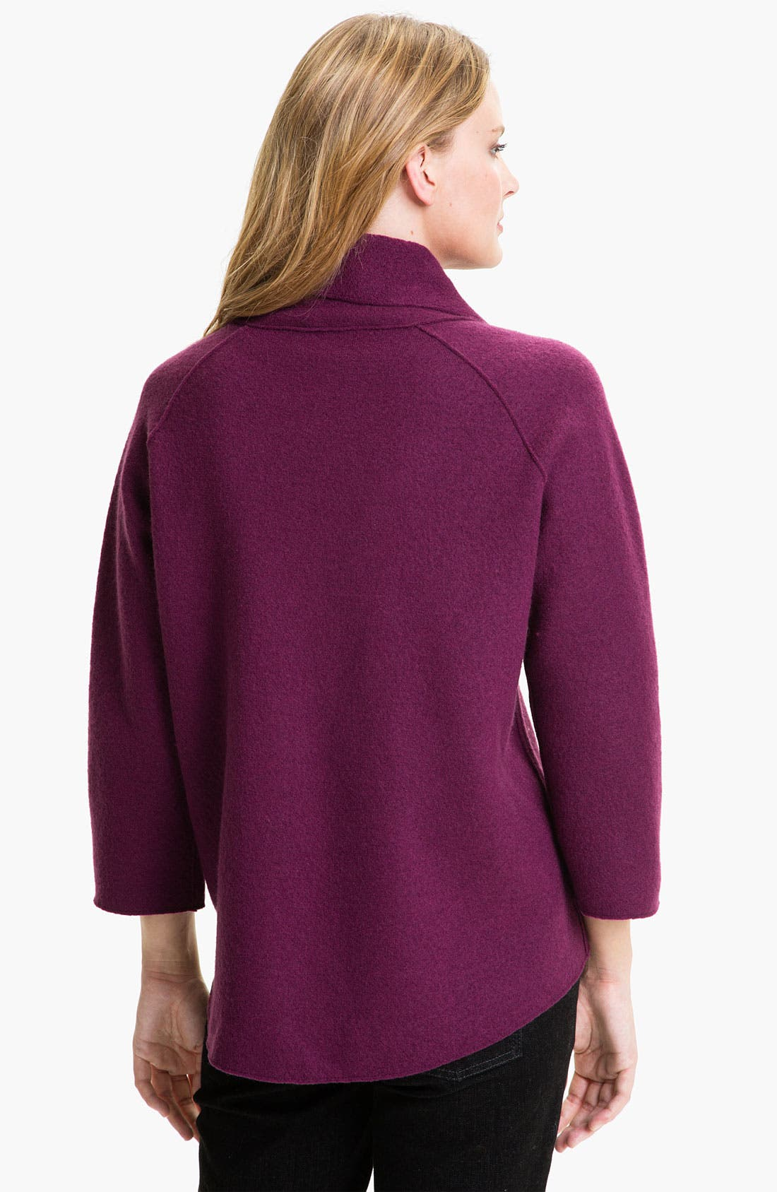Alternate Image 2  - Eileen Fisher Funnel Neck Boiled Wool Coat (Petite)