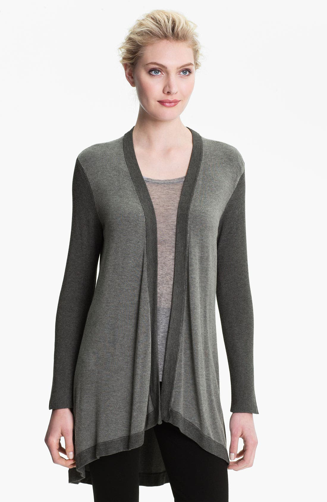 Alternate Image 1 Selected - Eileen Fisher Angled Front Cardigan (Online Exclusive)