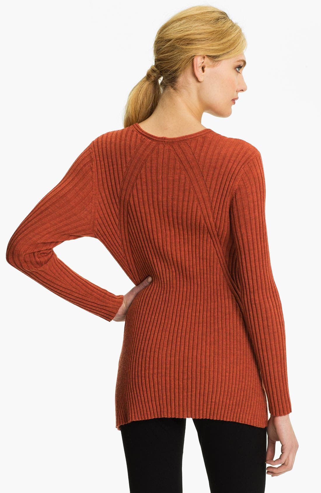 Alternate Image 2  - Eileen Fisher Ribbed V-Neck Tunic Sweater (Online Exclusive)
