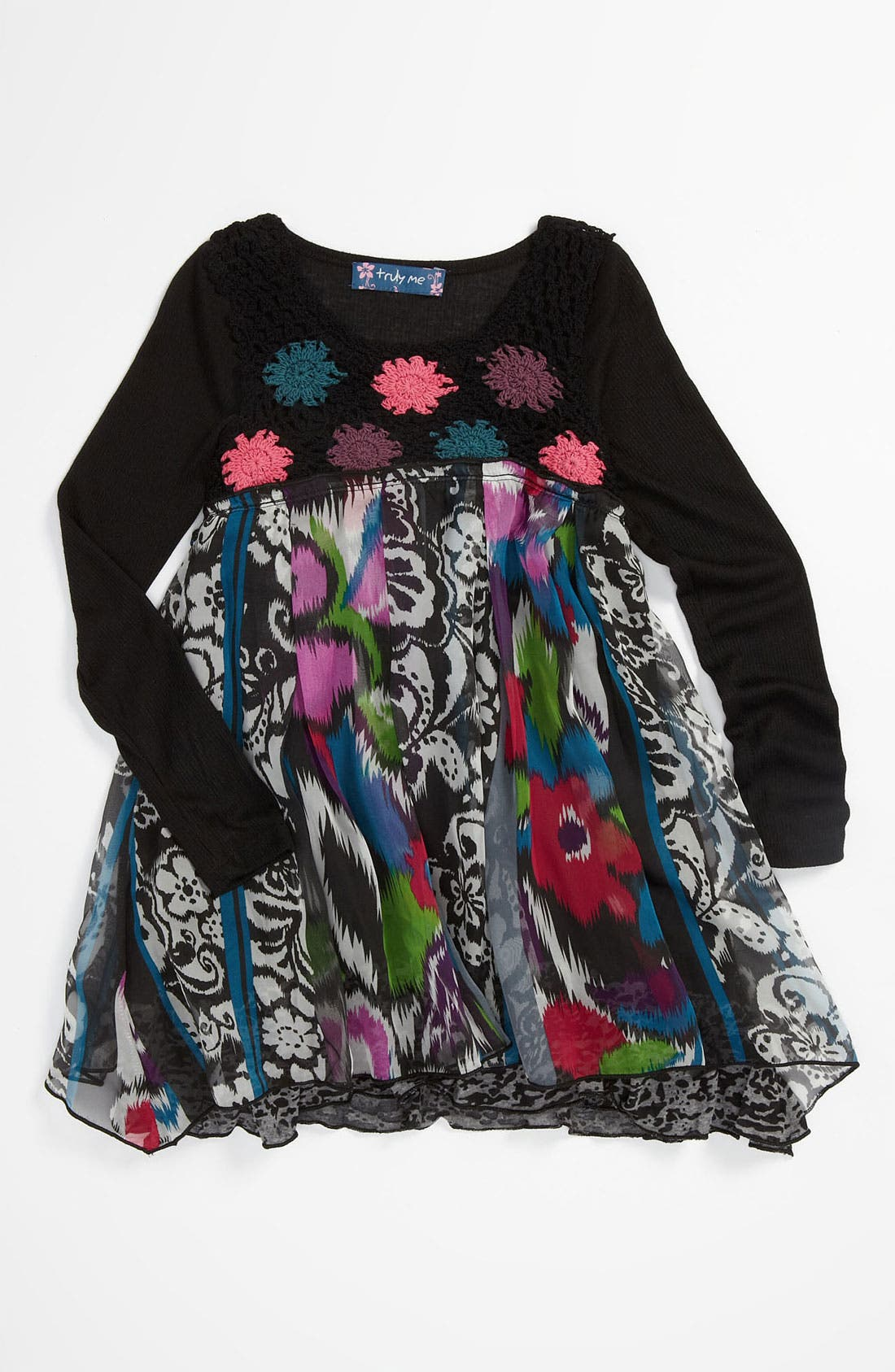 Main Image - Truly Me Floral Dress (Little Girls)