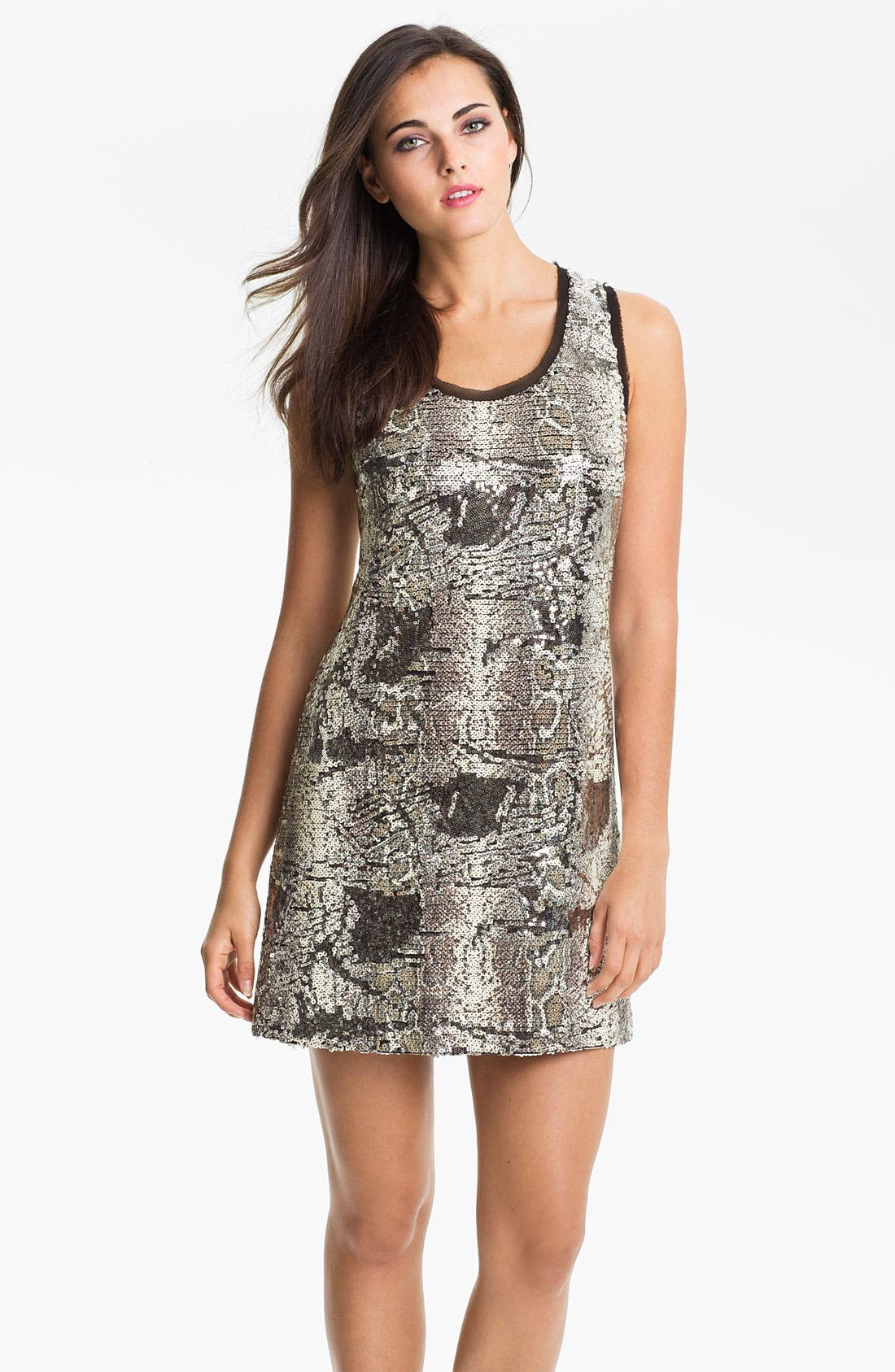 Main Image - Donna Morgan Sleeveless Print Sequin Shift Dress