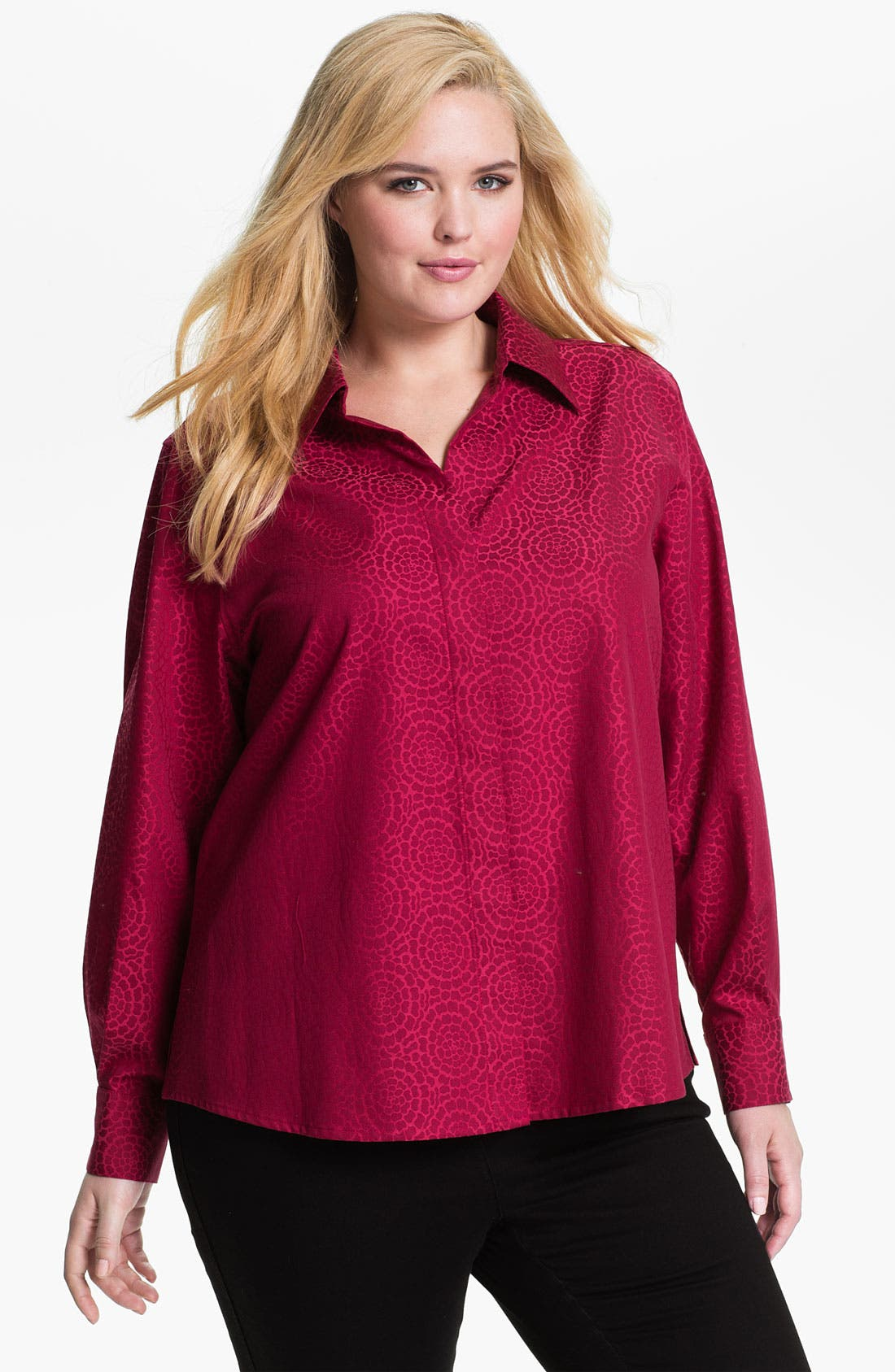 Alternate Image 1 Selected - Foxcroft 'Chrysanthemum' Wrinkle Free Shaped Shirt (Plus)