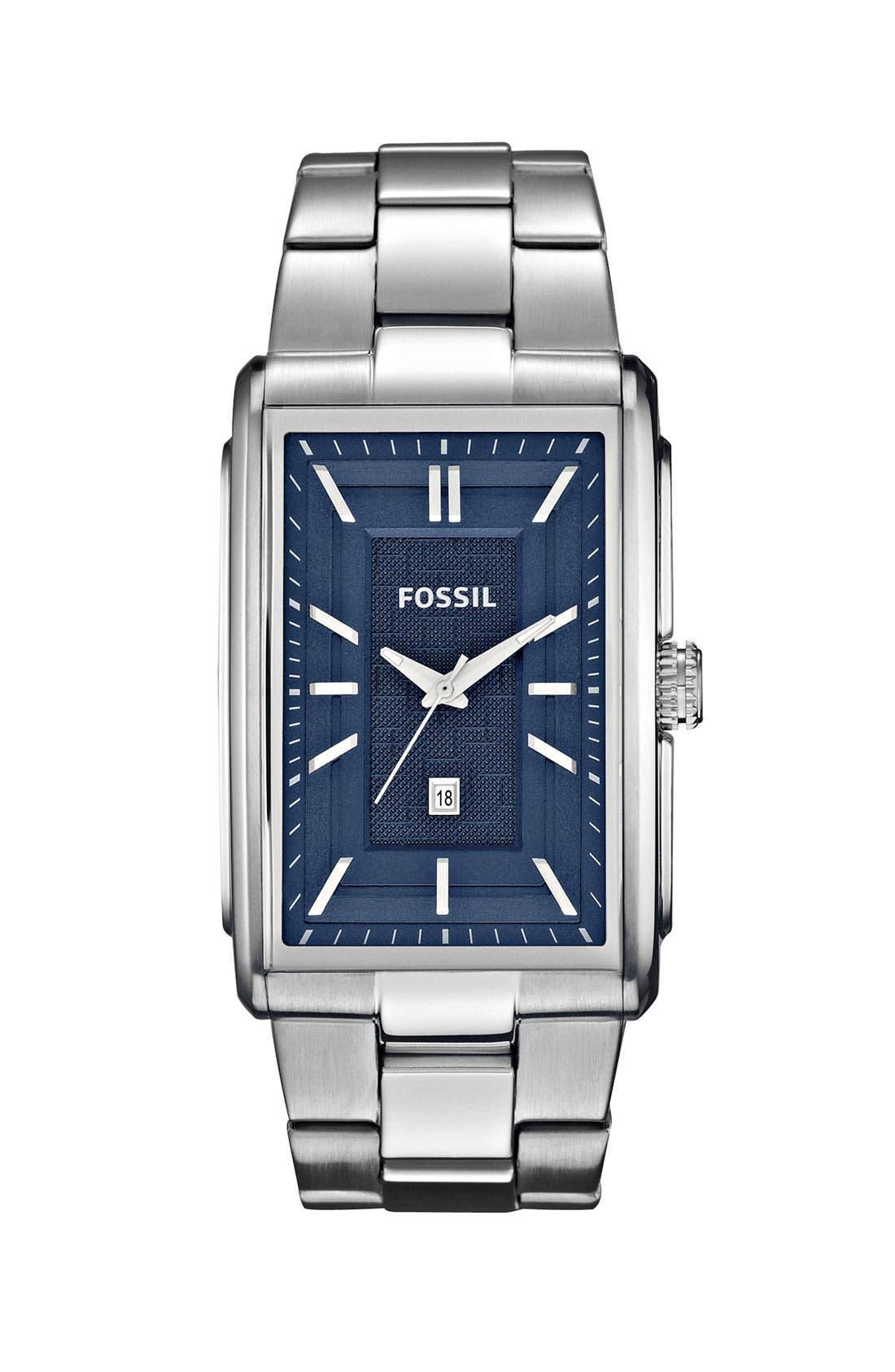 Alternate Image 1 Selected - Fossil 'Truman' Rectangular Bracelet Watch, 33mm x 49mm