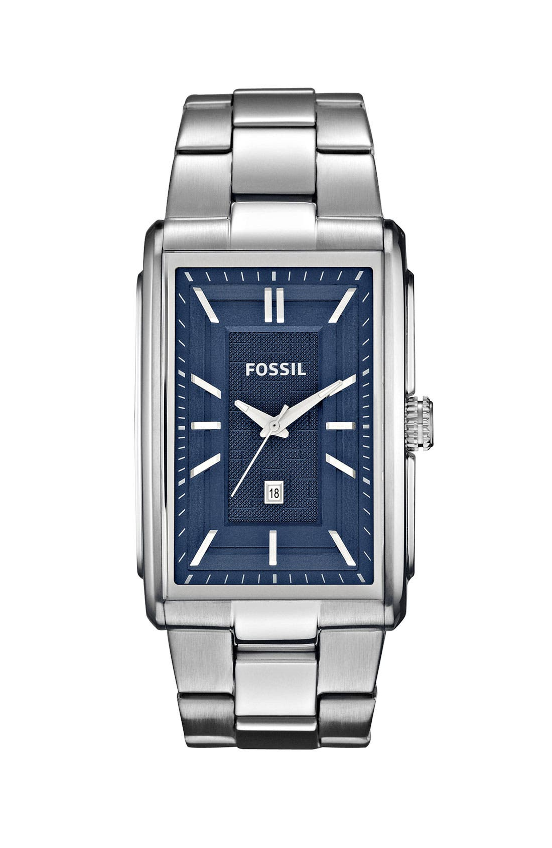 Main Image - Fossil 'Truman' Rectangular Bracelet Watch, 33mm x 49mm