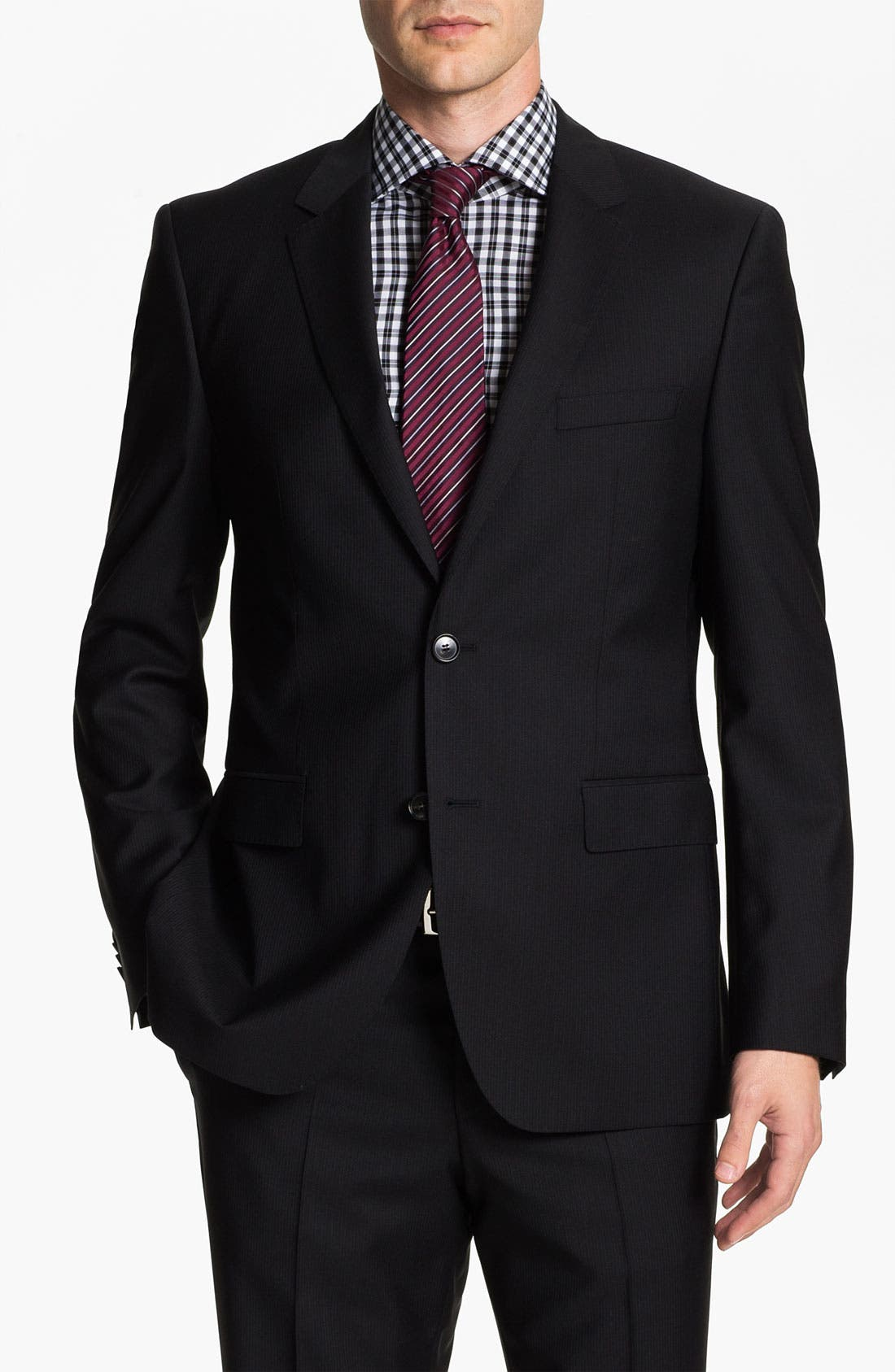 Alternate Image 1 Selected - BOSS Black 'Jam/Sharp' Trim Fit Stripe Suit