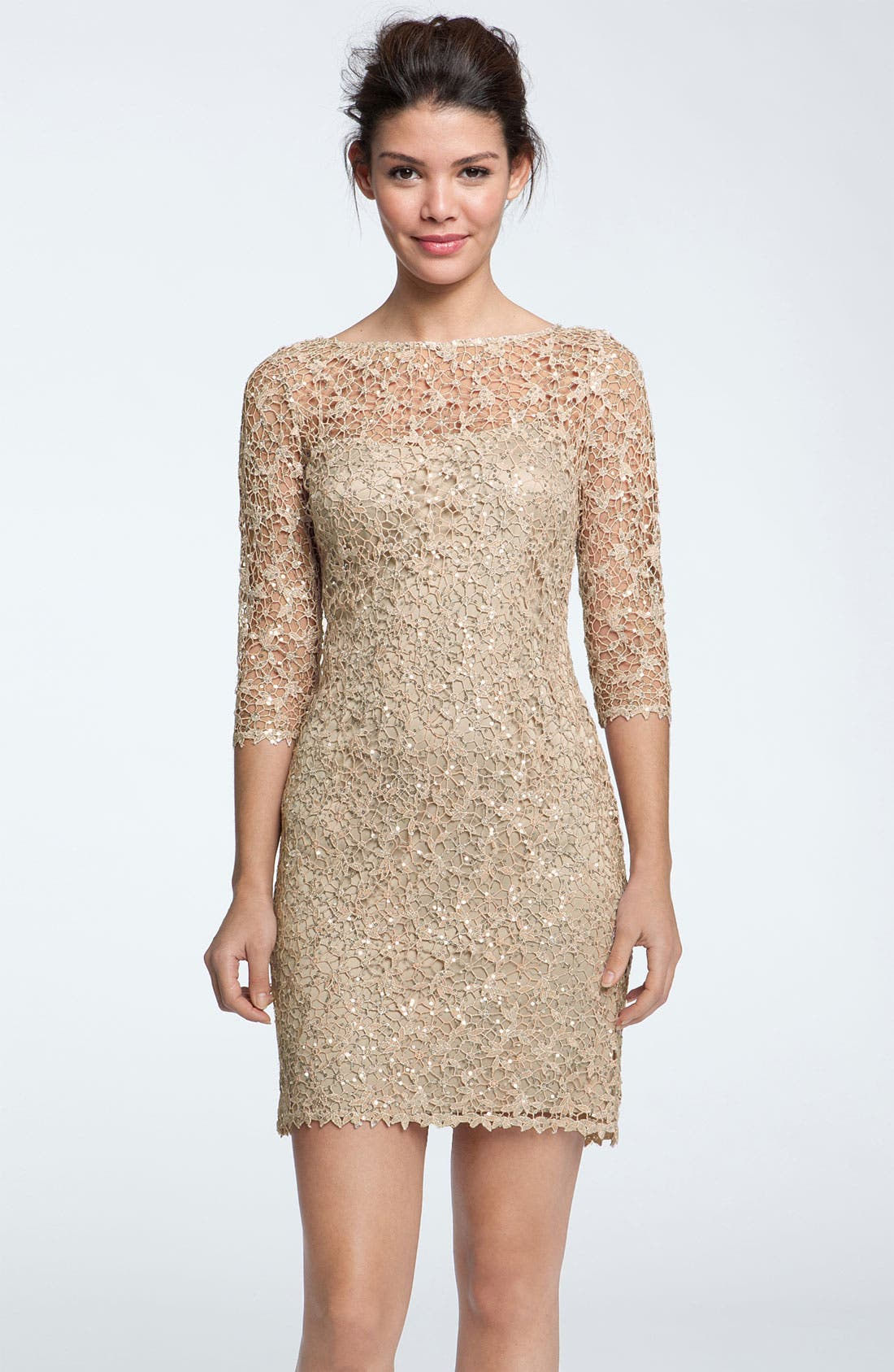 Main Image - Kay Unger Sequin & Lace Sheath Dress (Petite)