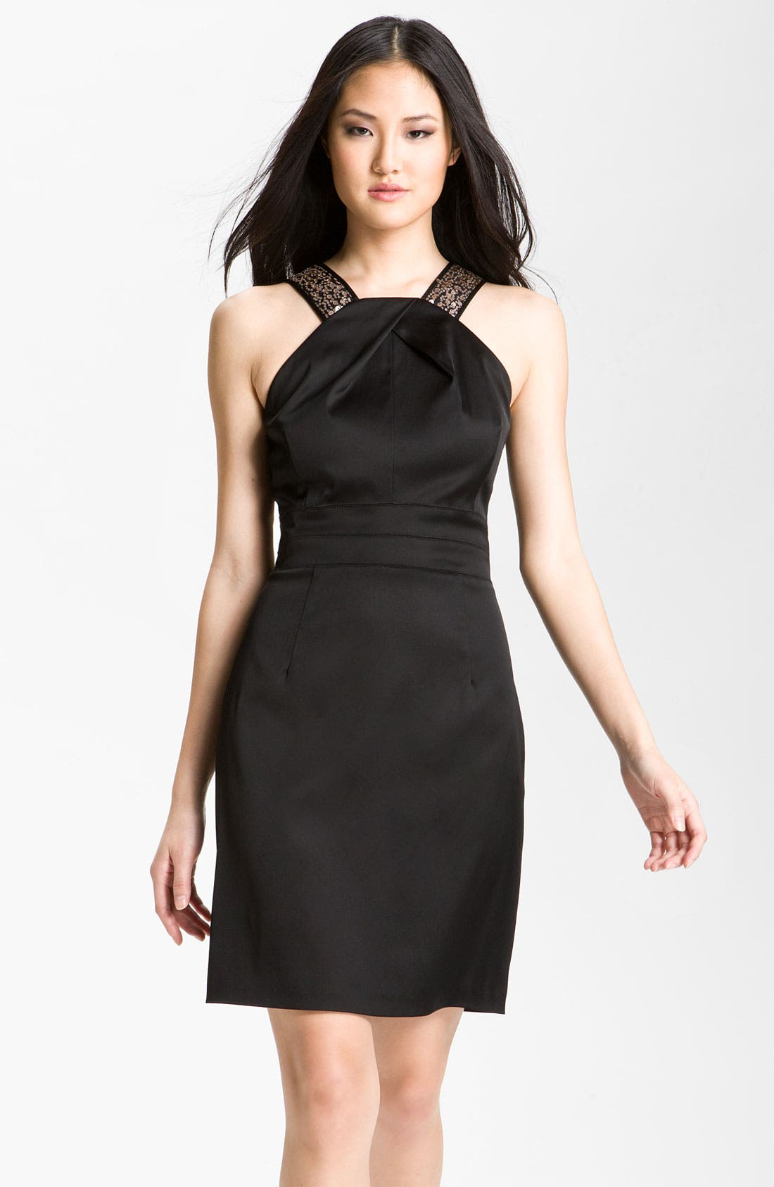 Main Image - Donna Ricco Sequin Strap Satin Halter Dress (Petite)