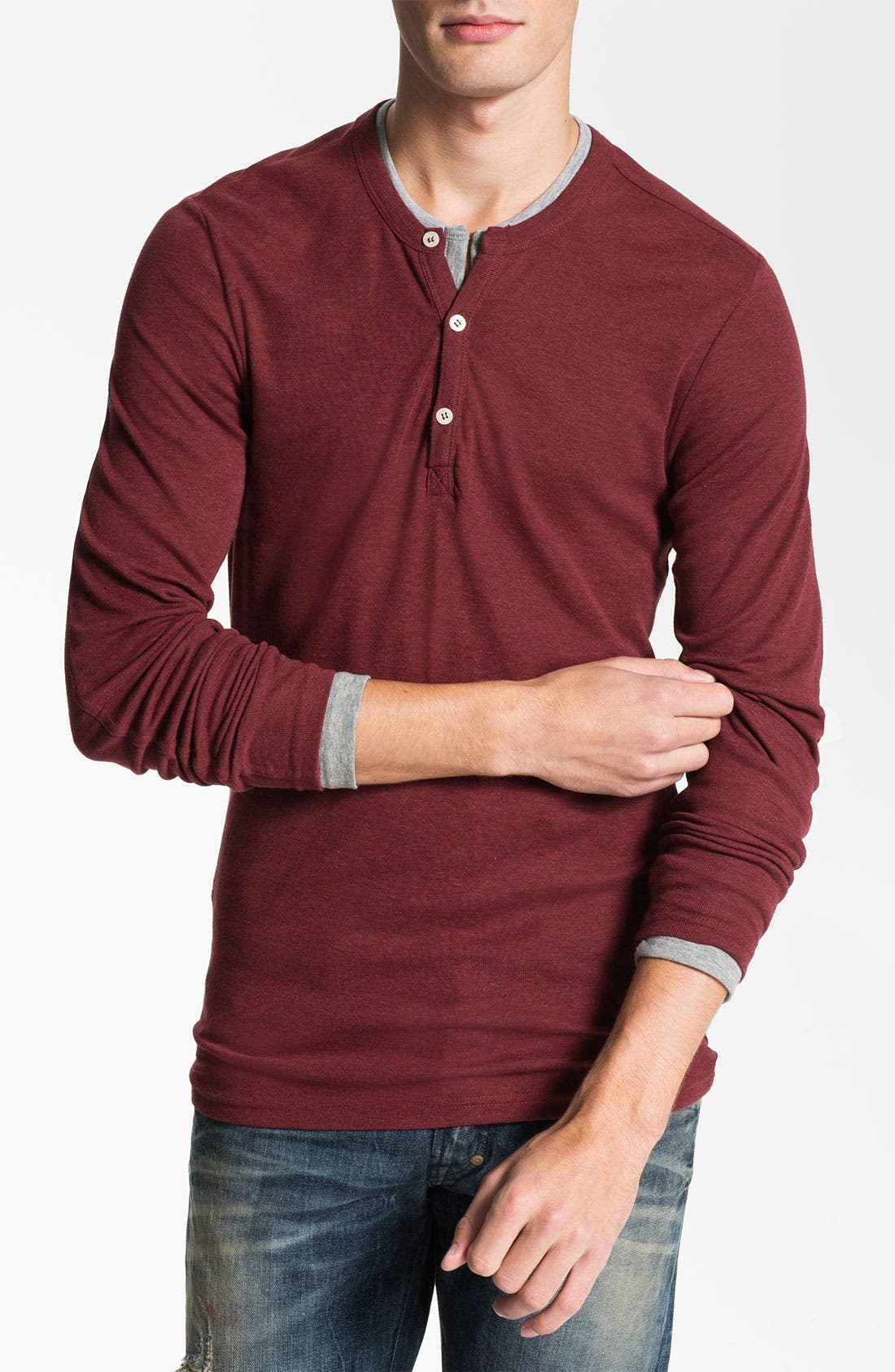 Main Image - J.C. Rags Extra Trim Fit Long Sleeve Henley