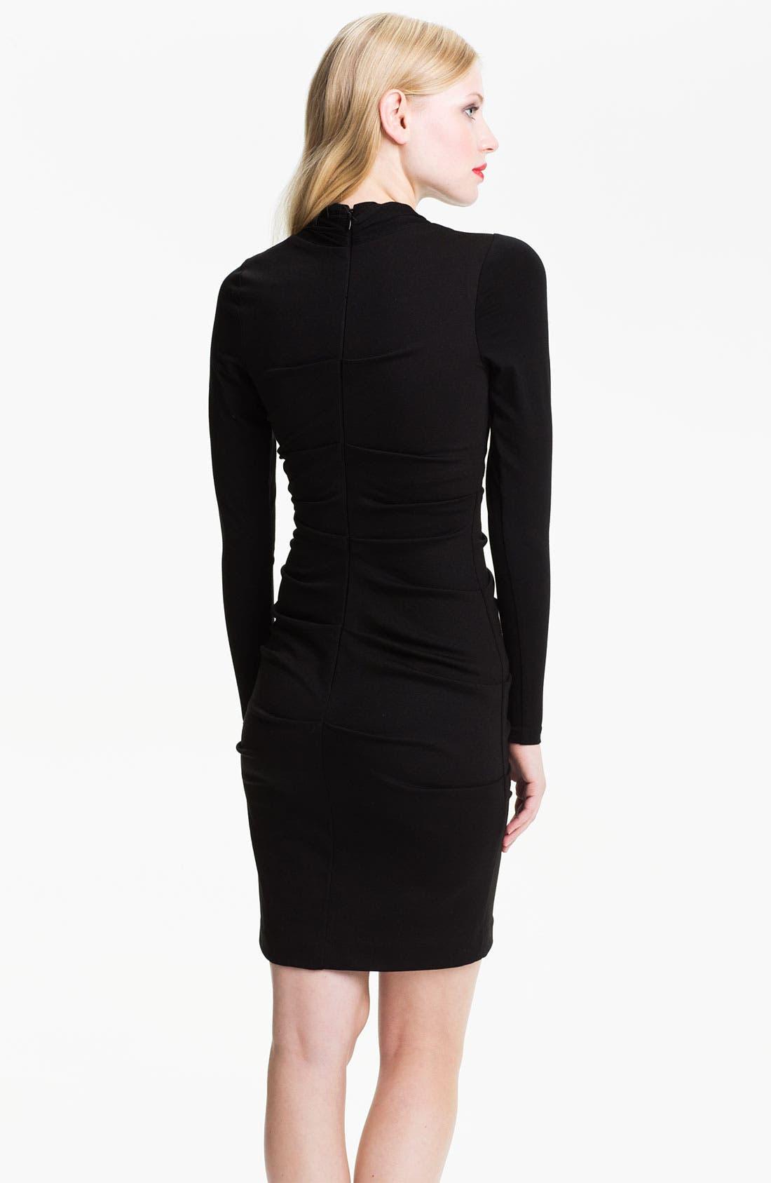 Alternate Image 2  - Nicole Miller Long Sleeve Ruched Panel Ponte Sheath Dress