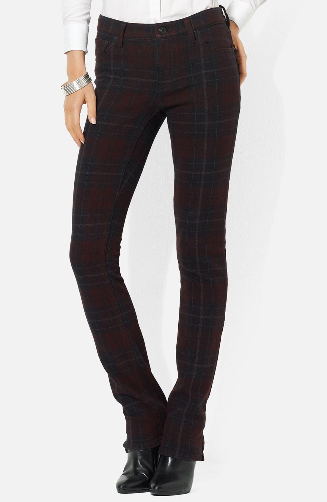 Alternate Image 1 Selected - Lauren Ralph Lauren Straight Leg Plaid Pants (Petite)
