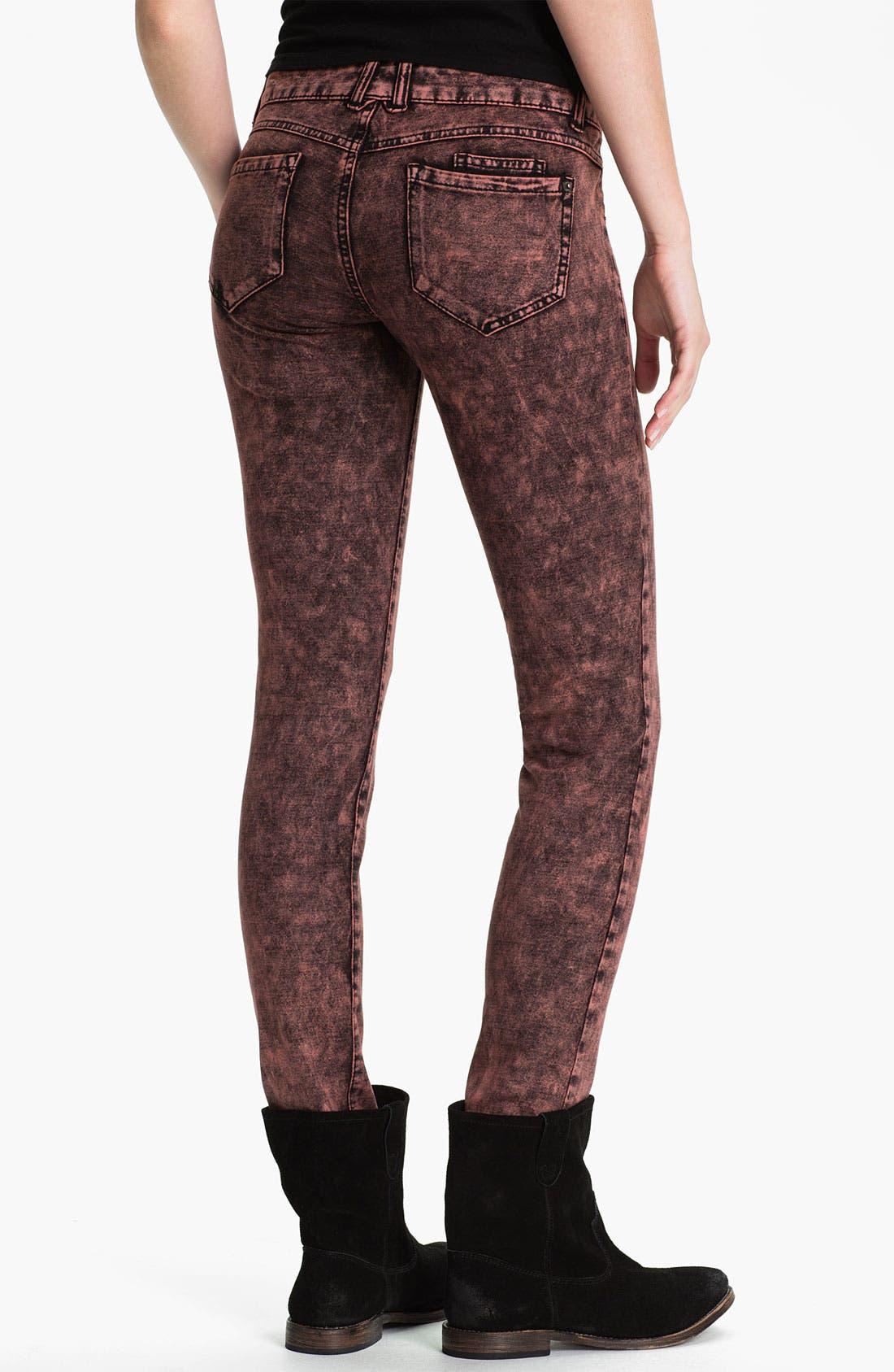Alternate Image 2  - Jolt Acid Wash Ponte Skinny Pants (Juniors)
