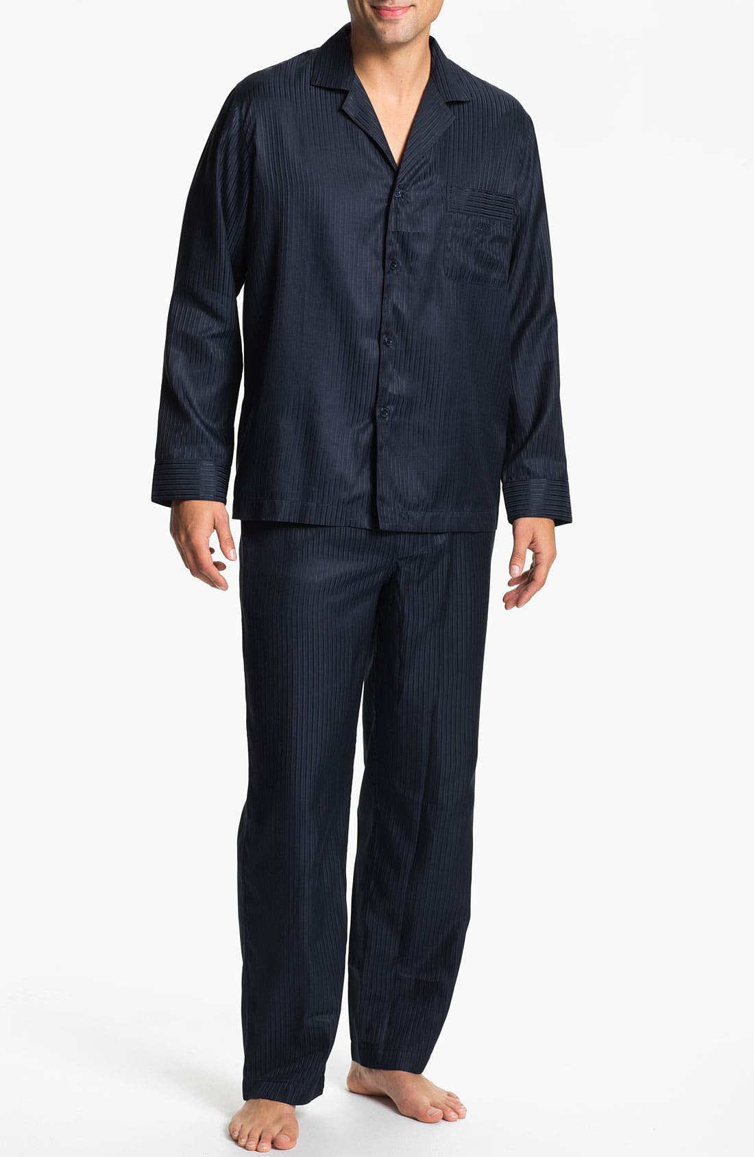 Main Image - BOSS Black 'Innovation 4' Woven Silk & Cotton Pajama Set