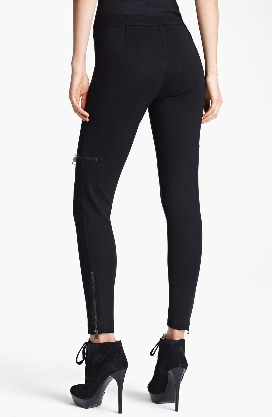 Alternate Image 2  - Burberry London Zip Detail Jersey Leggings