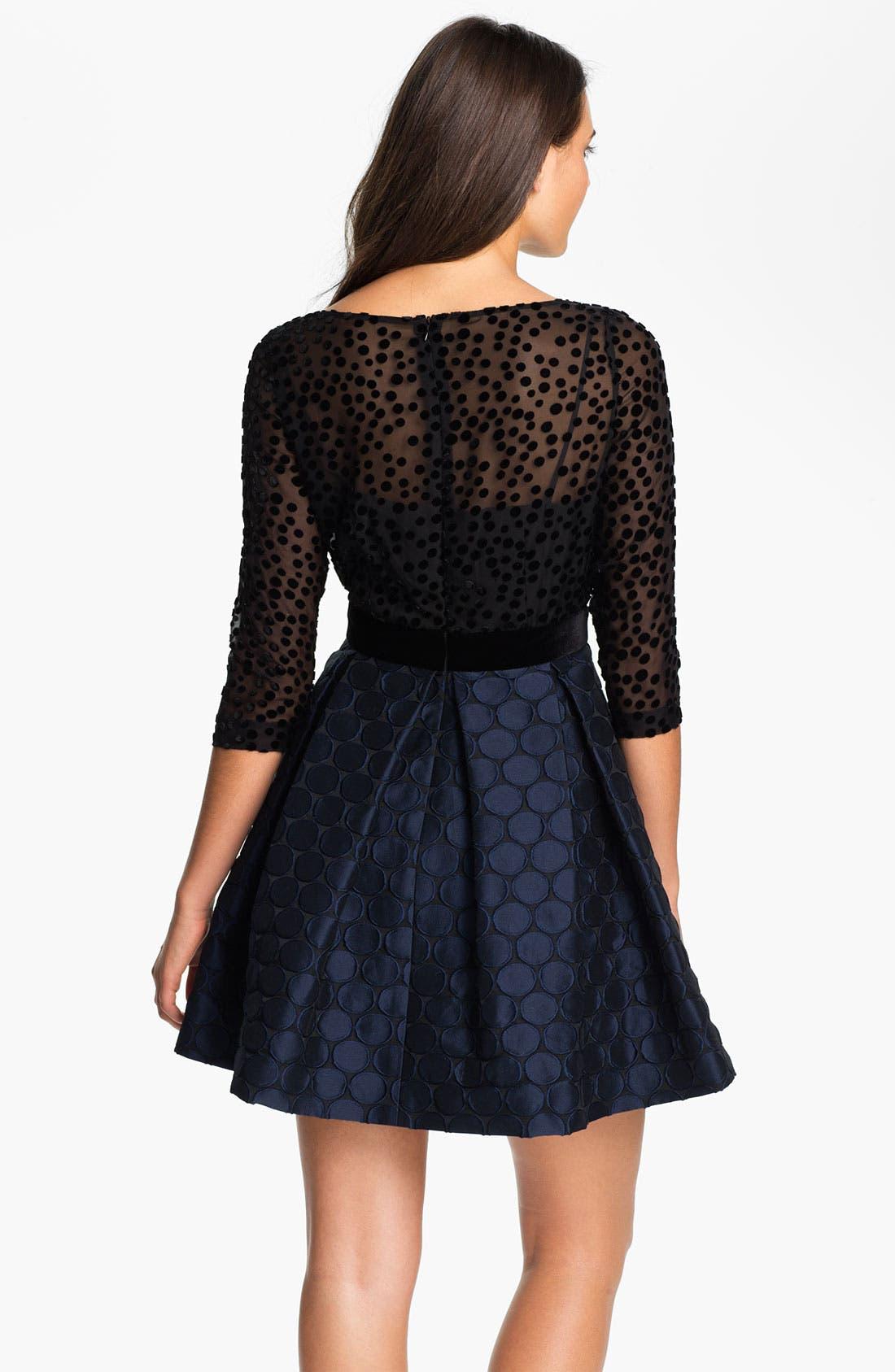 Alternate Image 2  - Taylor Dresses Burnout Bodice Jacquard Fit & Flare Dress