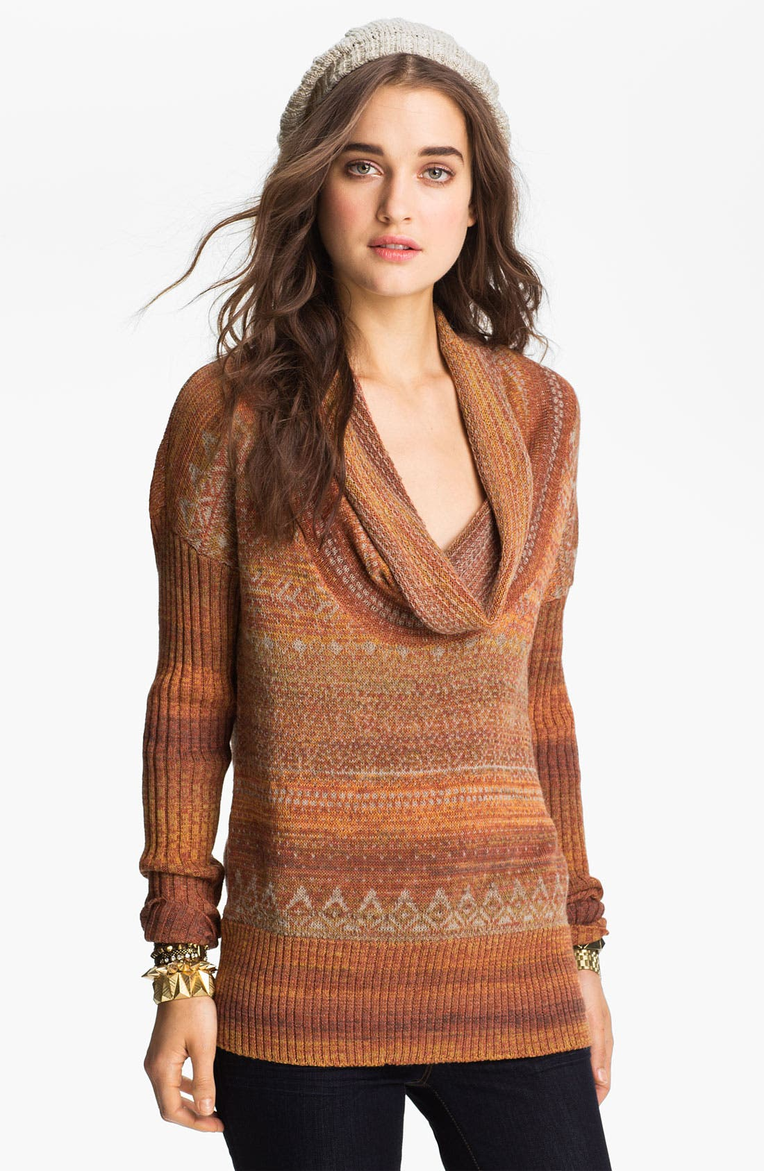 Main Image - Free People Cowl Neck Nordic Sweater