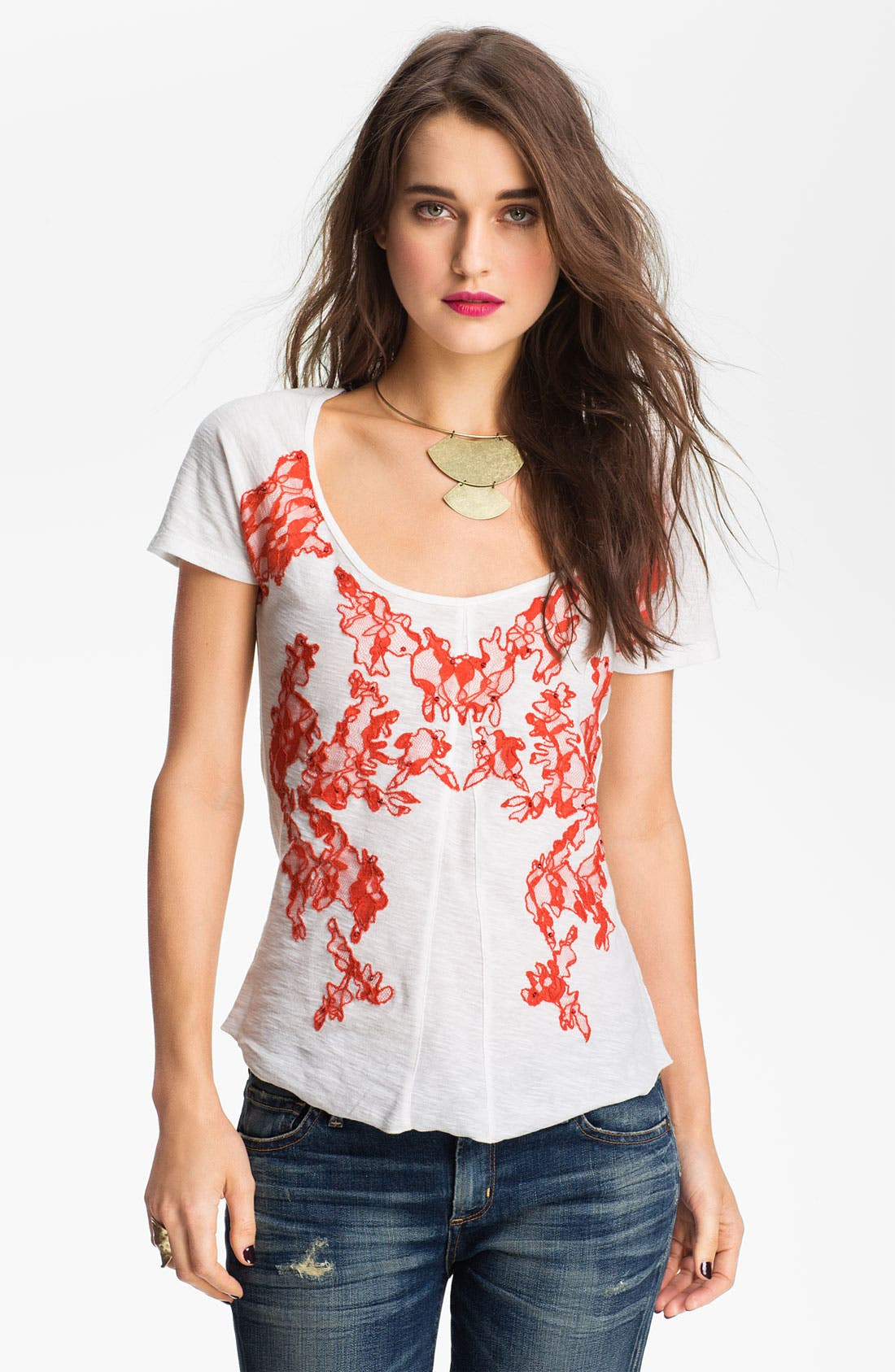 Main Image - Free People Lace Appliqué Vintage Tee