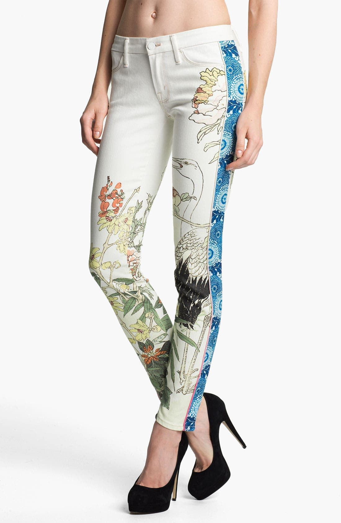Main Image - MOTHER 'The Looker' Mixed Print Skinny Jeans (The Scent of Sake)