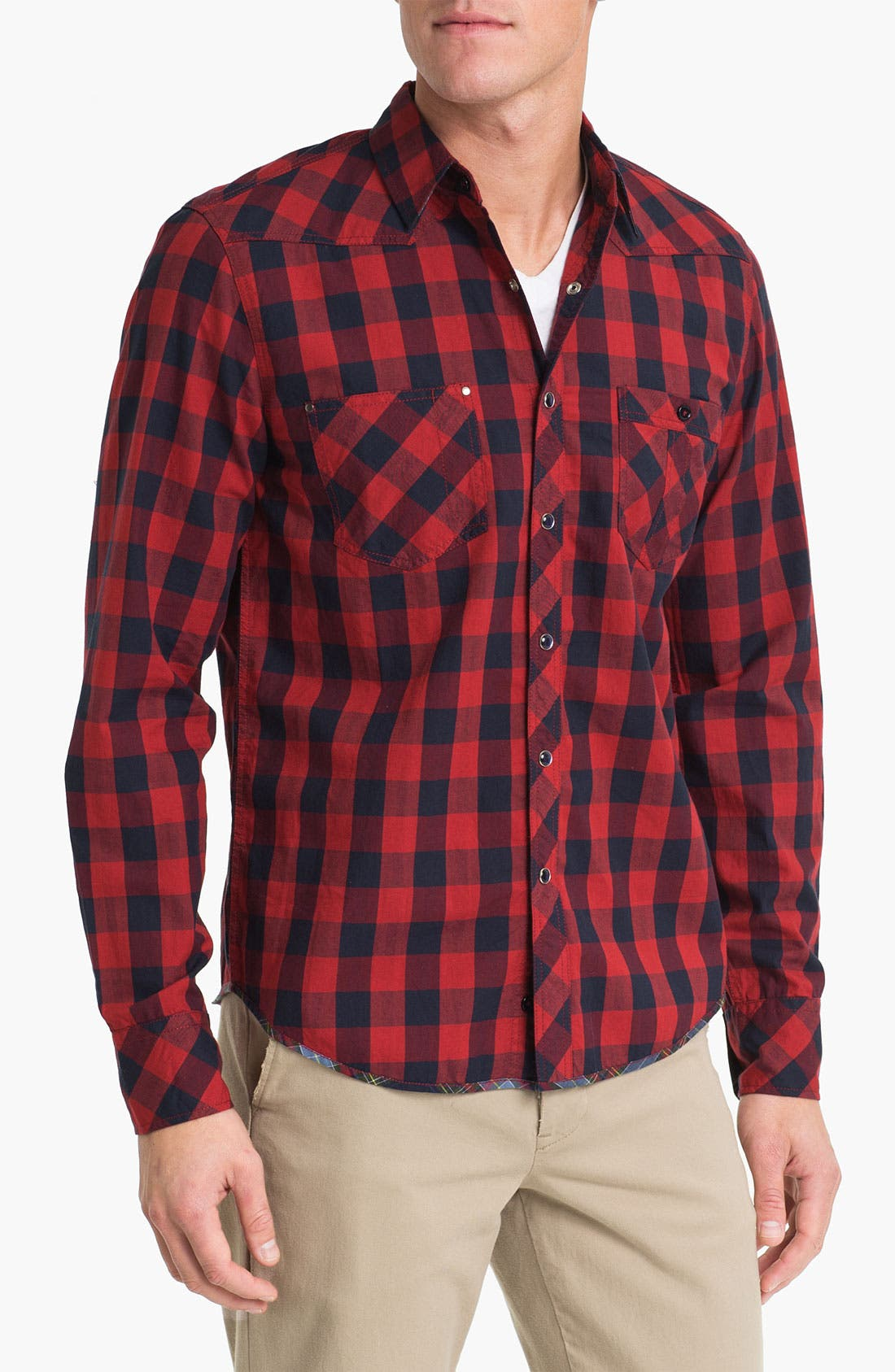 Main Image - Vintage Red Check Twill Shirt