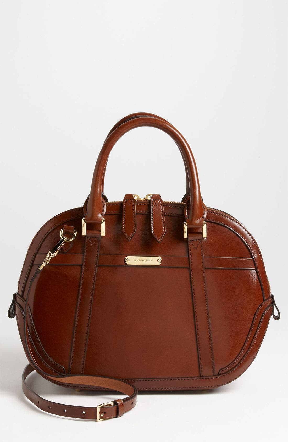 Alternate Image 1 Selected - Burberry Glazed Leather Bowling Bag