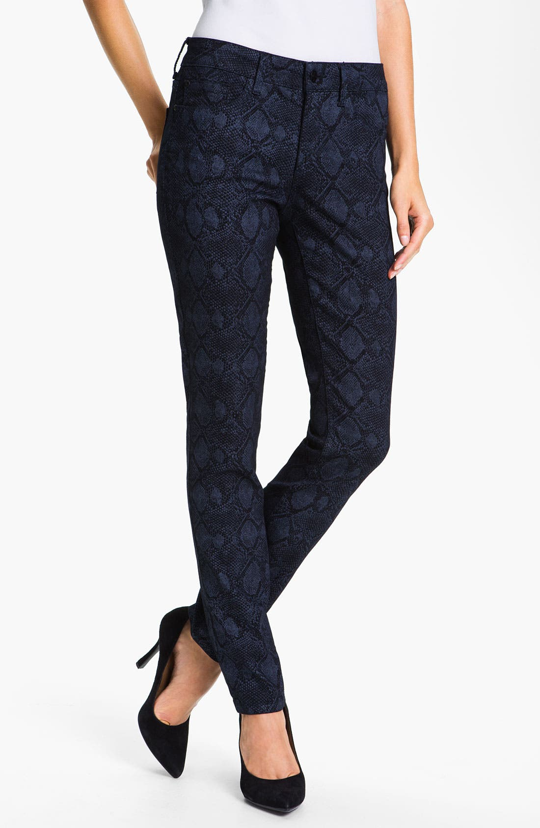 Alternate Image 1 Selected - NYDJ 'Sheri' Metallic Print Skinny Twill Jeans