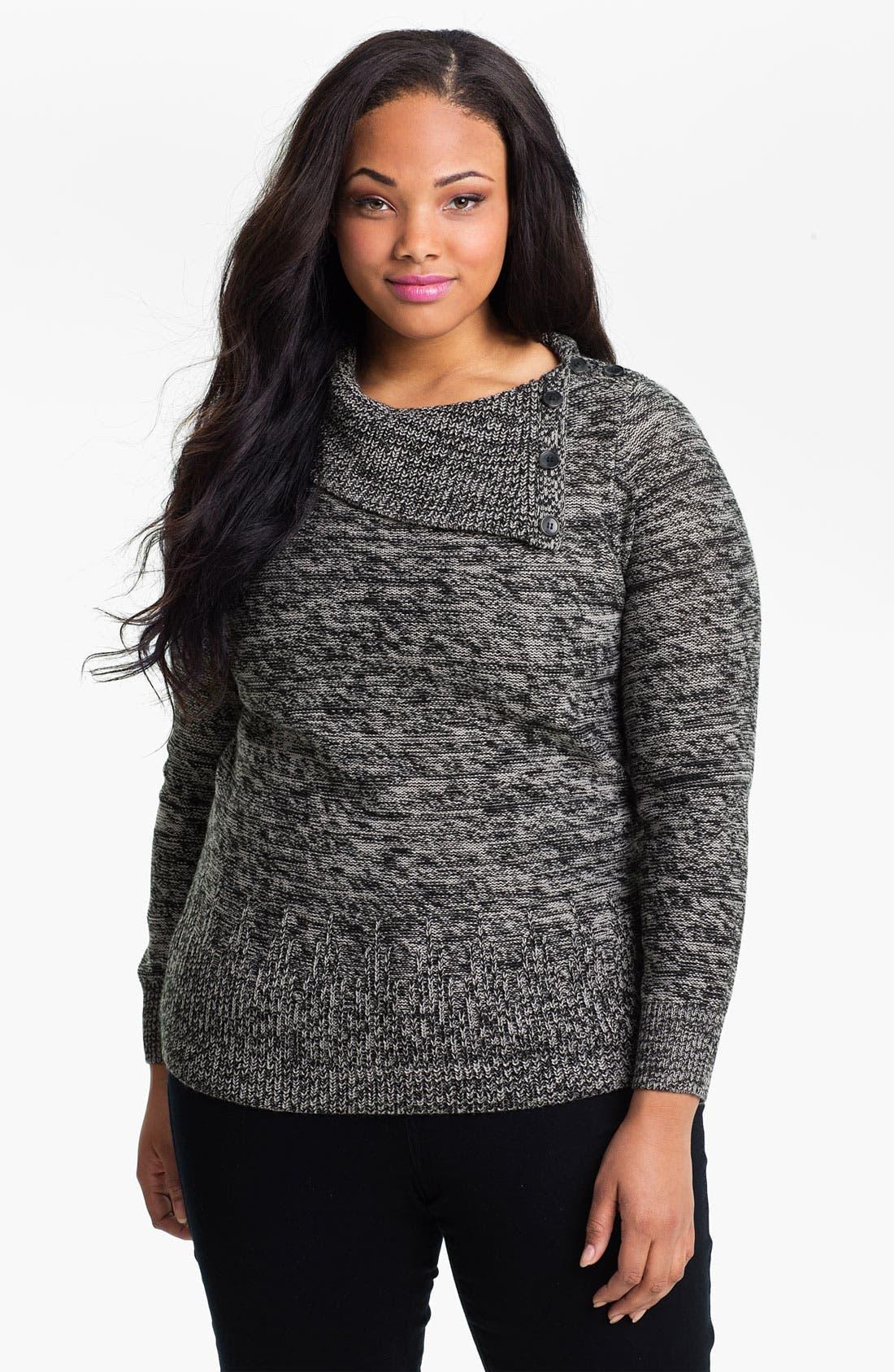 Main Image - Sejour Button Turtleneck Sweater (Plus)
