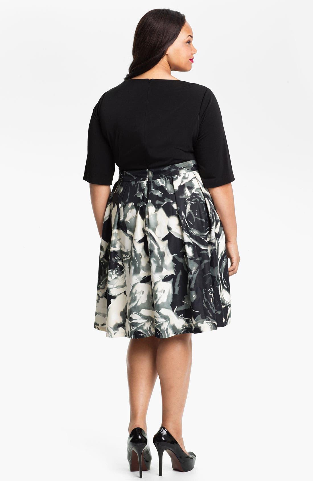 Alternate Image 2  - Donna Ricco Mock Two Piece Surplice Dress (Plus)