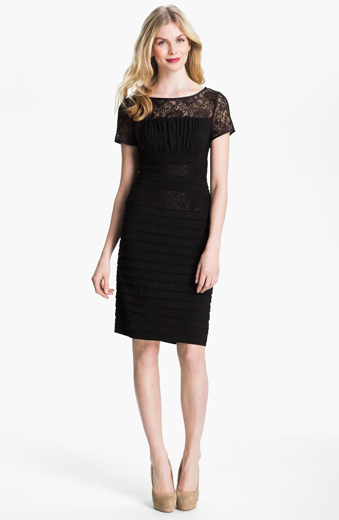 Main Image - Adrianna Papell Illusion Yoke Pleated Jersey Dress