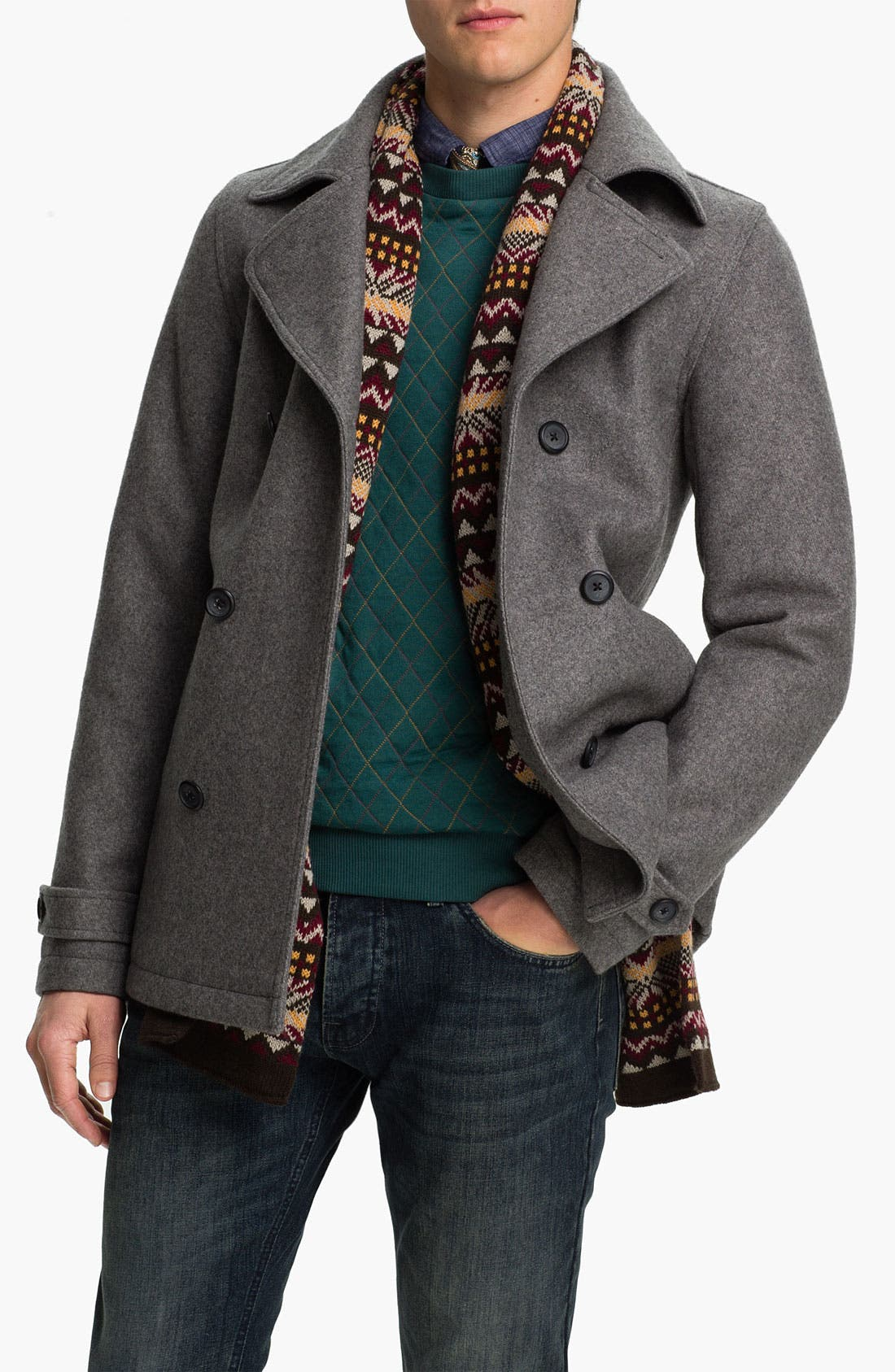 Alternate Image 1 Selected - Topman Double Breasted Peacoat