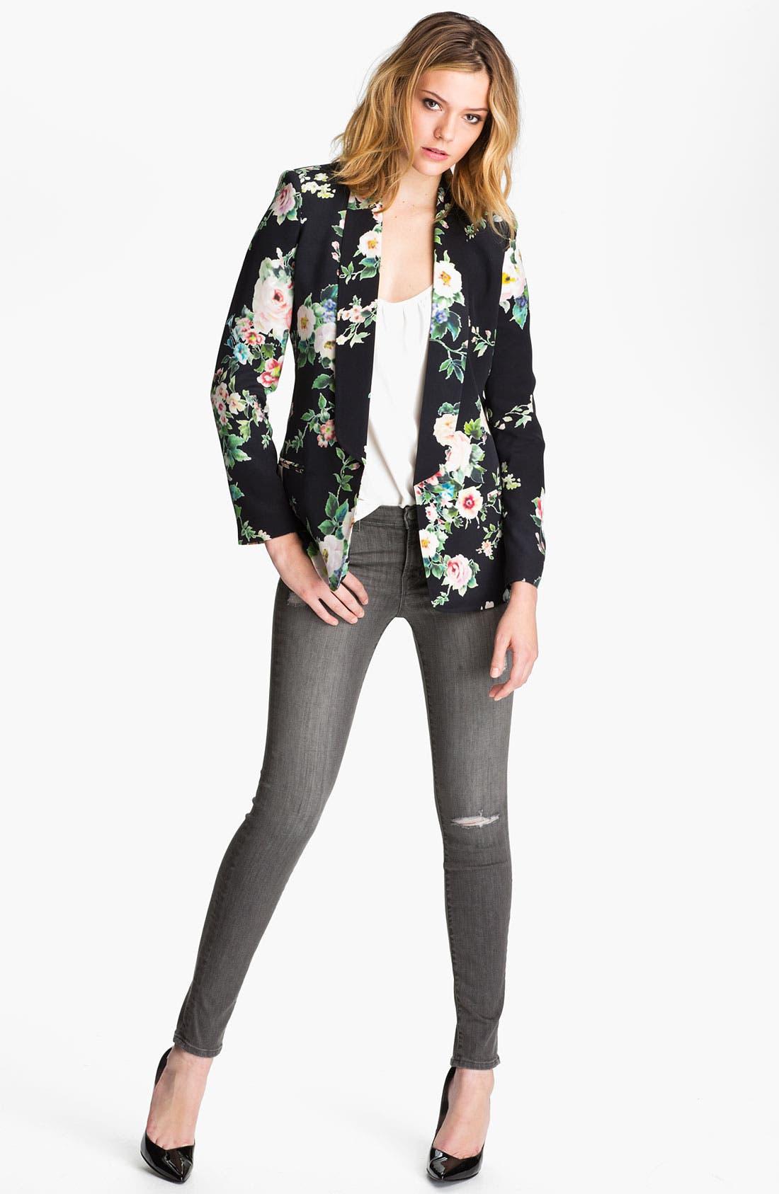 Alternate Image 4  - Truth and Pride 'Dark Vintage Rose' Print Silk Blazer