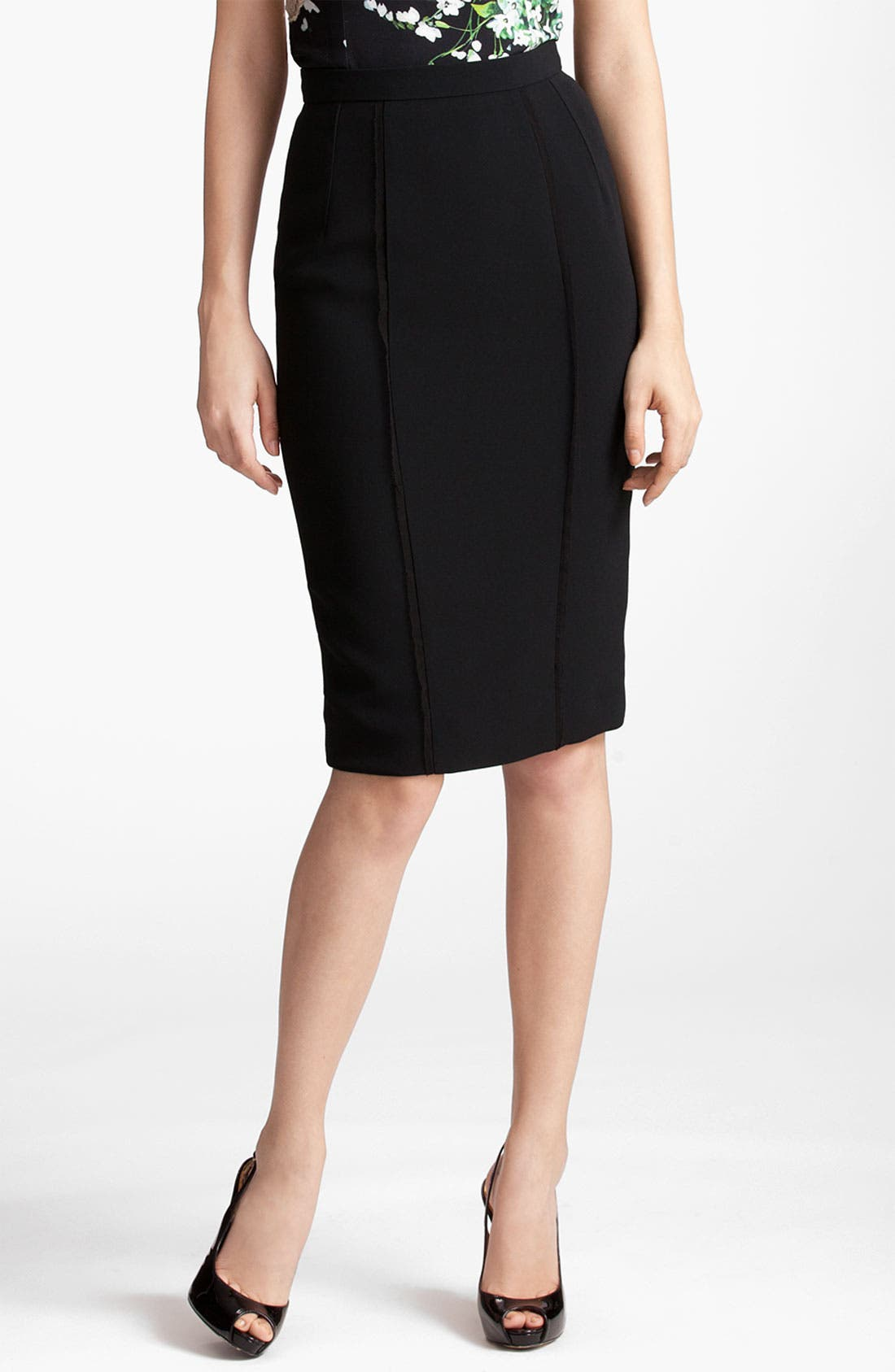Alternate Image 1 Selected - Dolce&Gabbana Raw Edge Stretch Cady Skirt