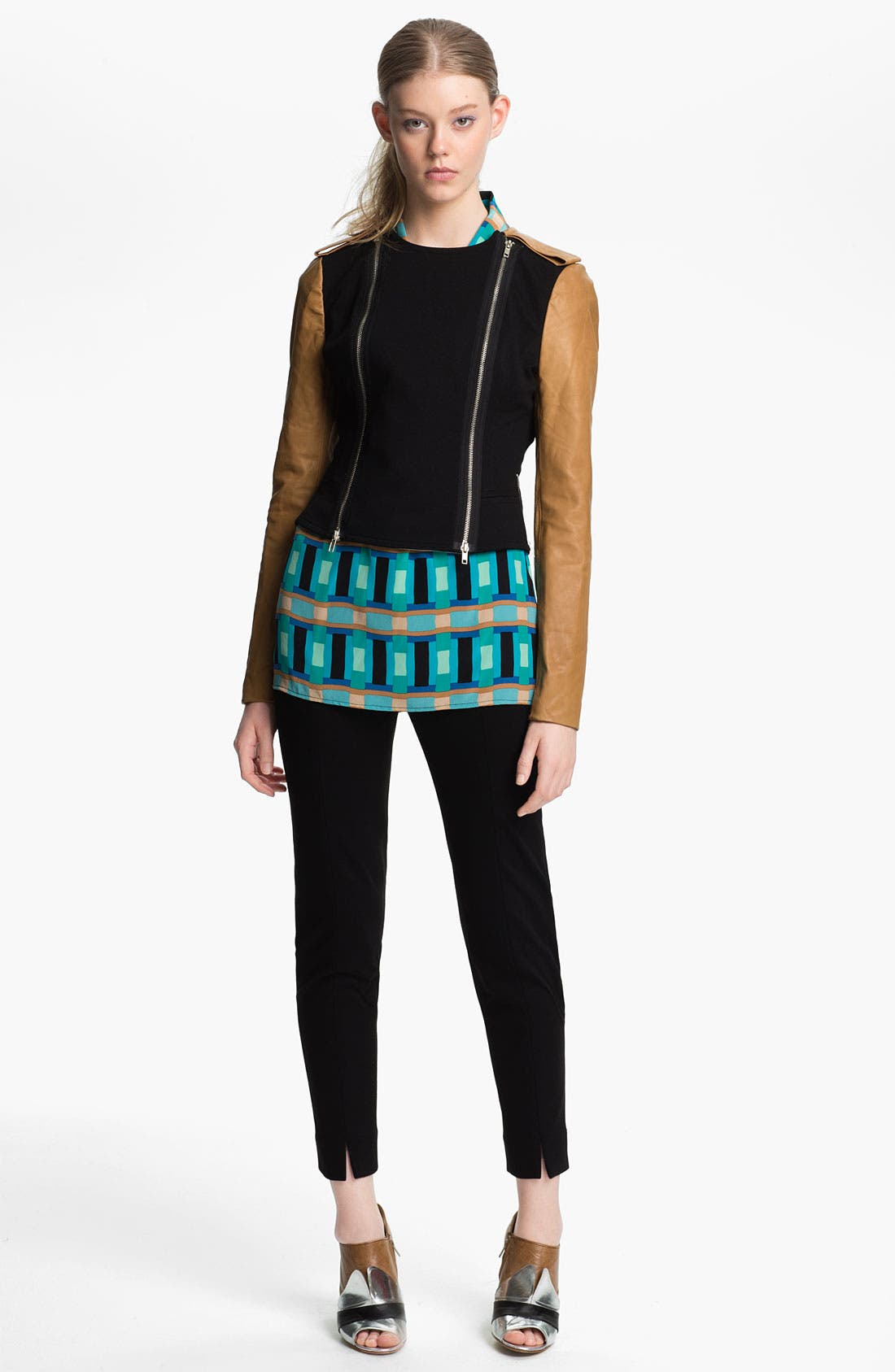 Alternate Image 2  - Tracy Reese Leather Sleeve Ponte Knit Jacket