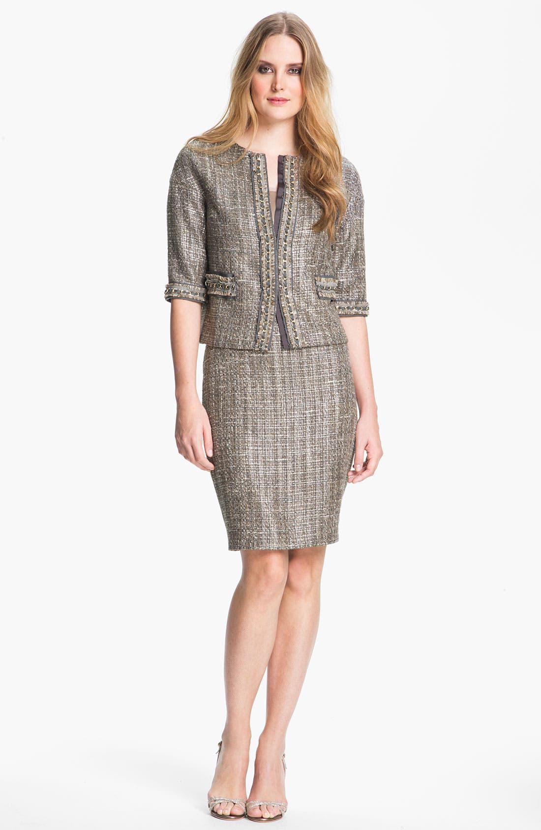 Main Image - St. John Collection Metallic Space Dye Tweed Pencil Skirt